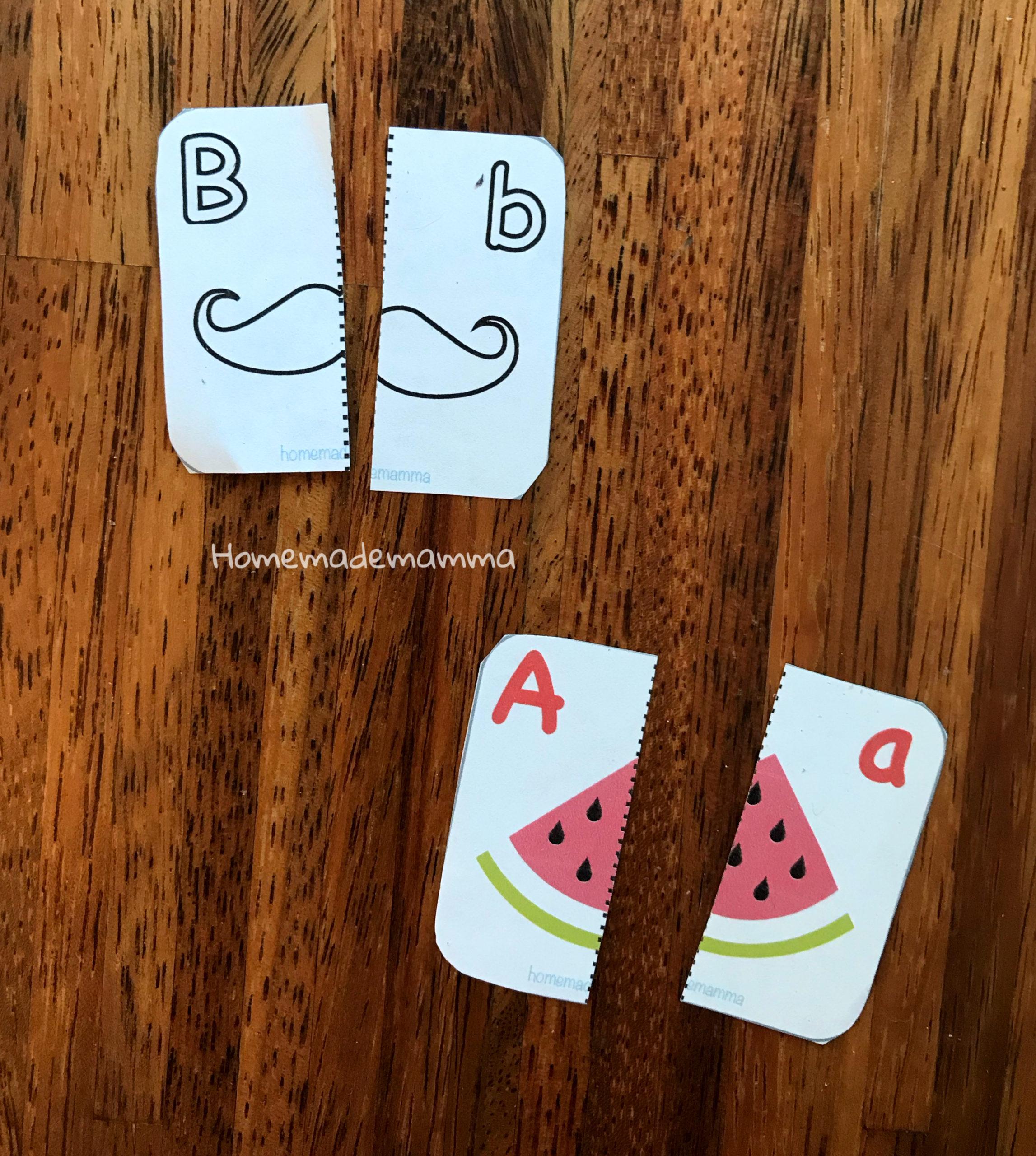 Puzzle per imparare l'alfabeto da colorare
