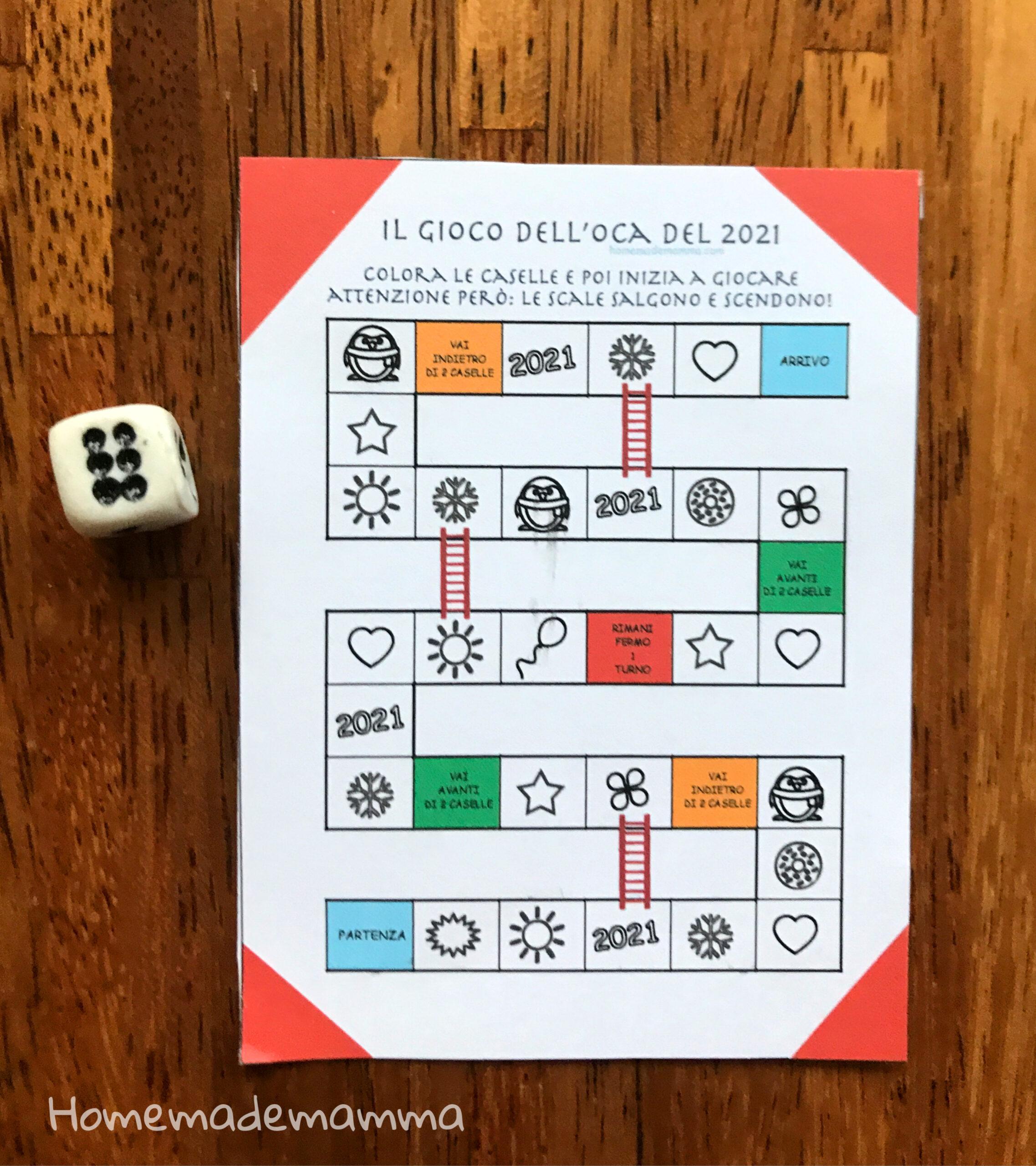 gioco dell'oca da colorare bambini capodanno da stampare