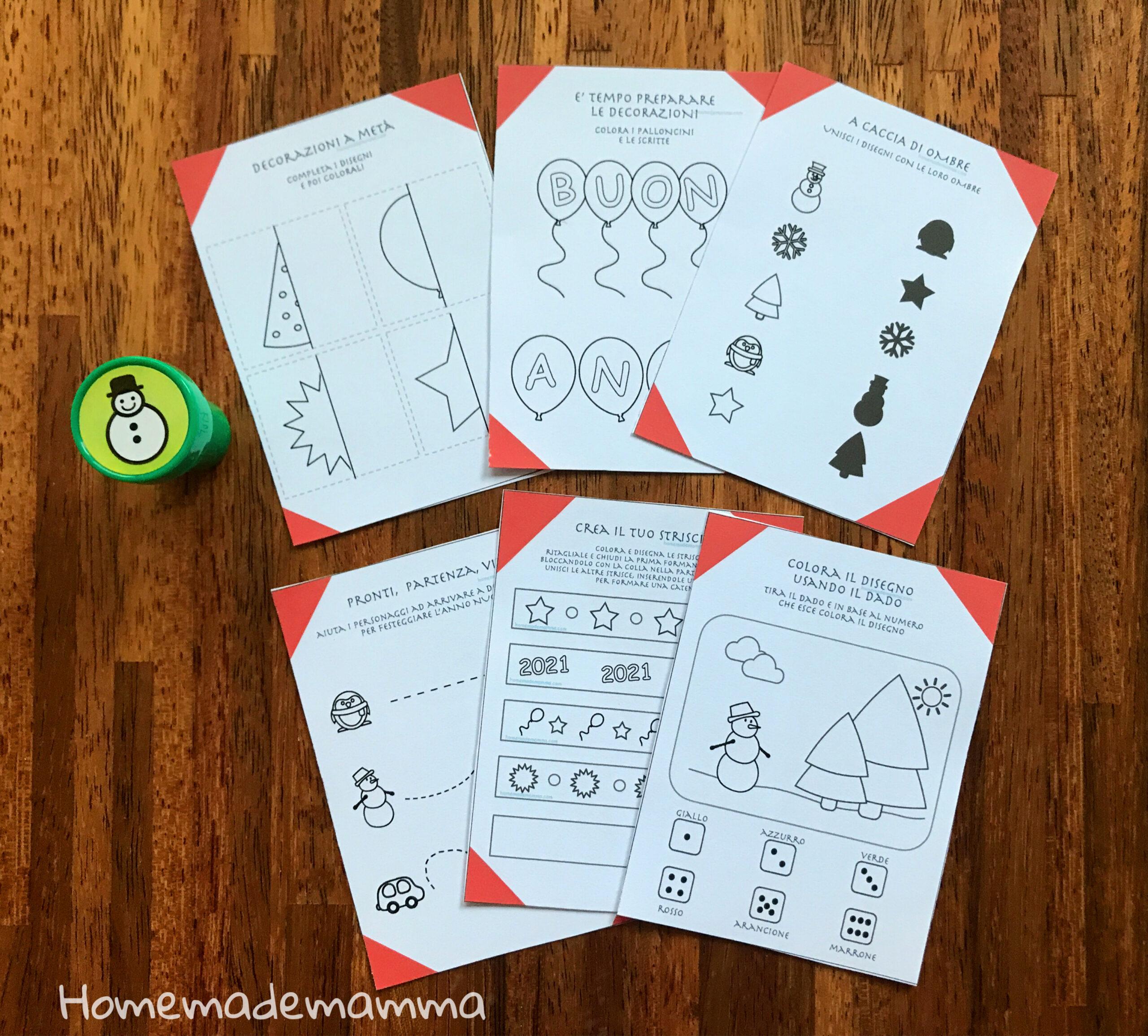 attività e giochi disegni da colorare bambini capodanno da stampare