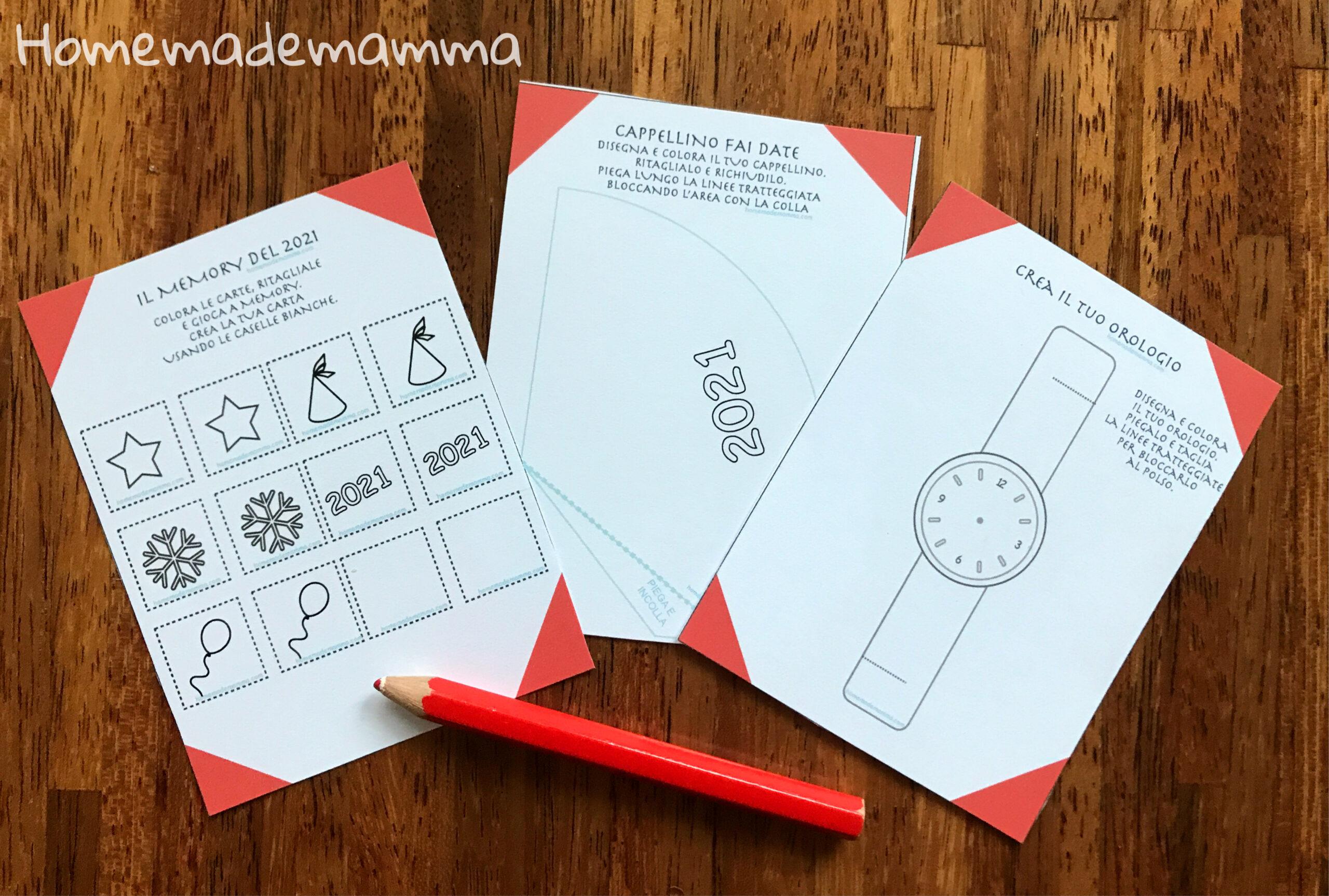 attività e giochi bambini capodanno da stampare