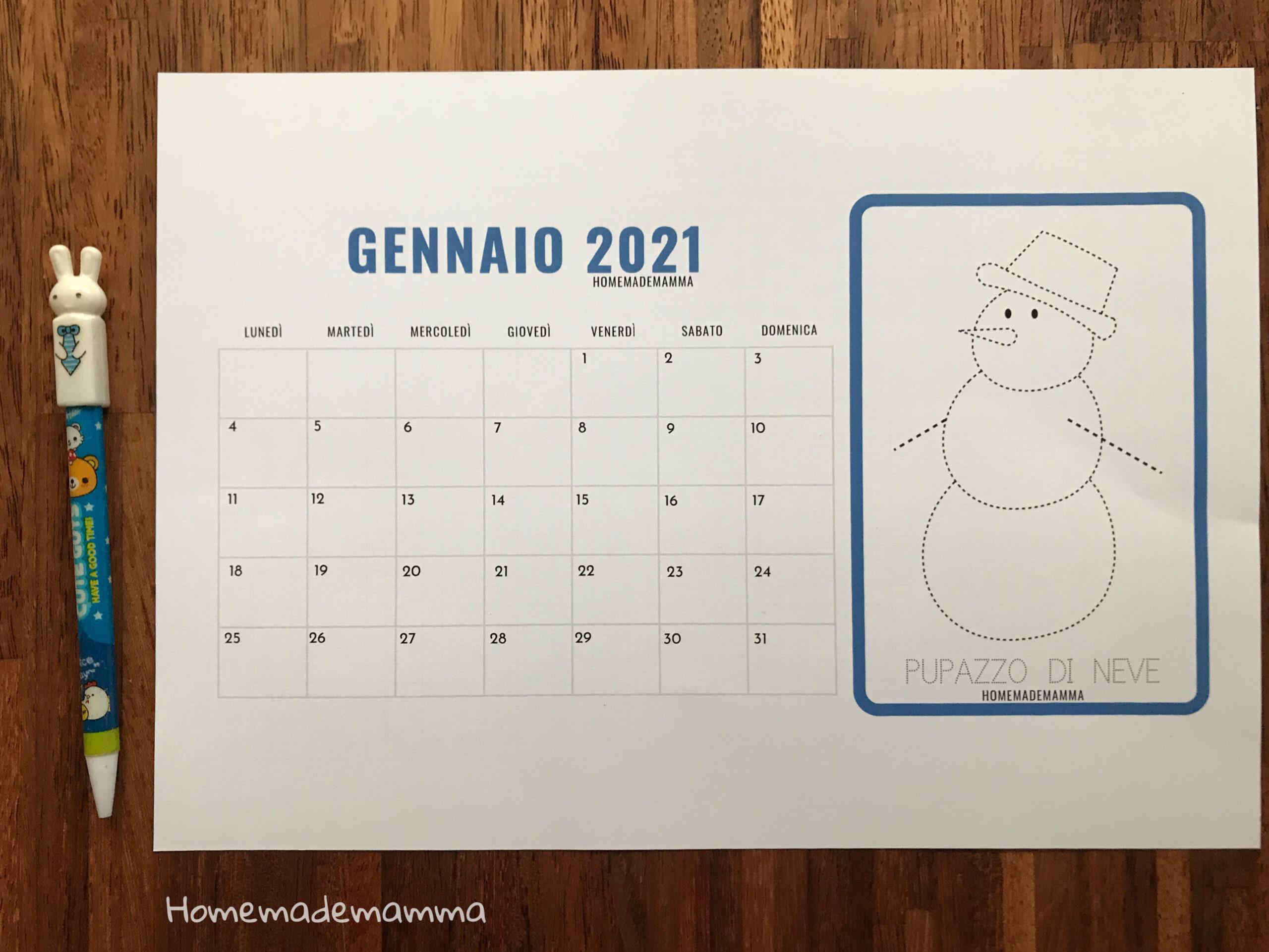 calendario 2021 bambini pregrafismo da stampare