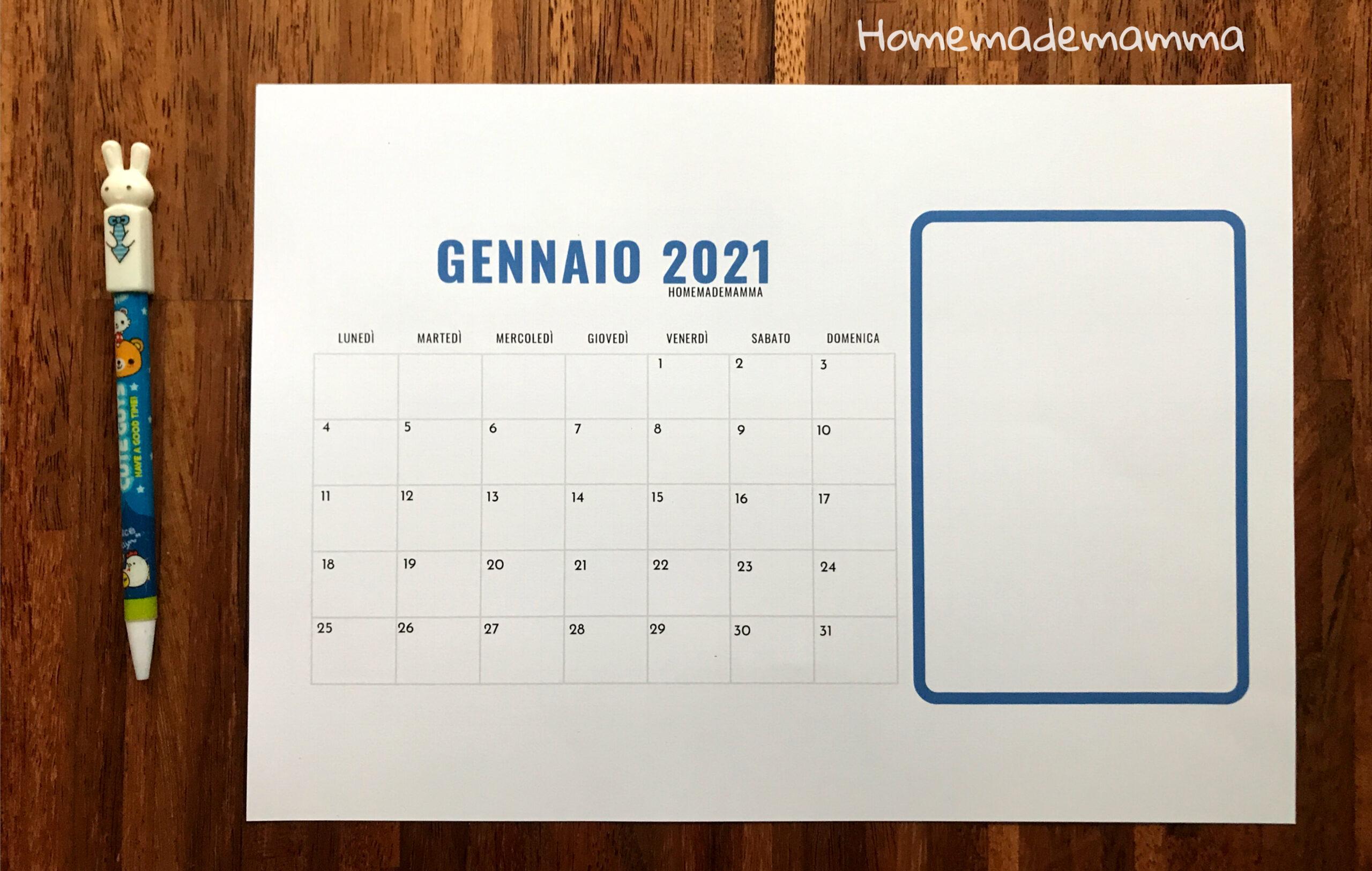 calendario 2021 bambini da stampare e colorare
