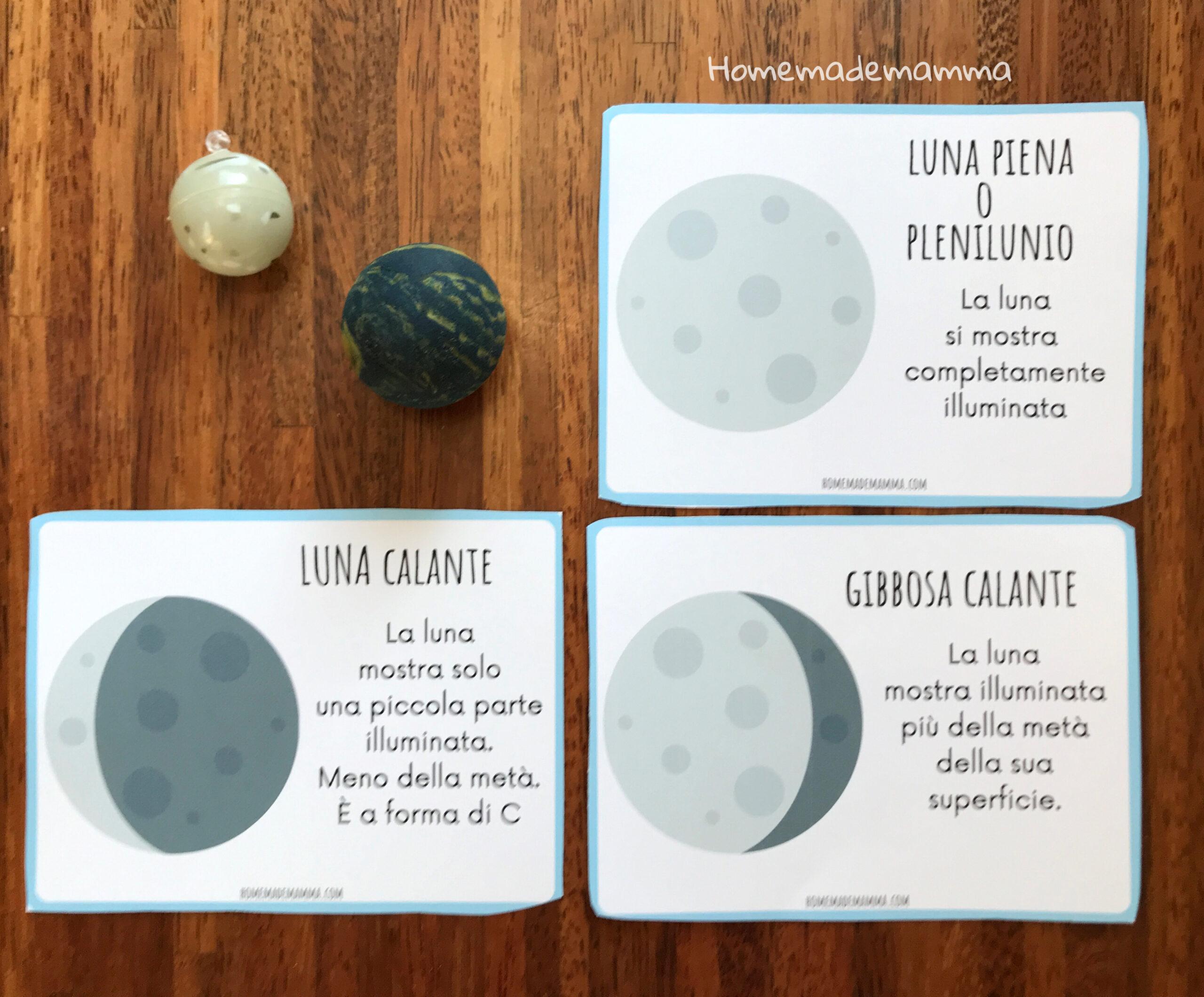 Carte per scoprire le fasi lunari da stampare