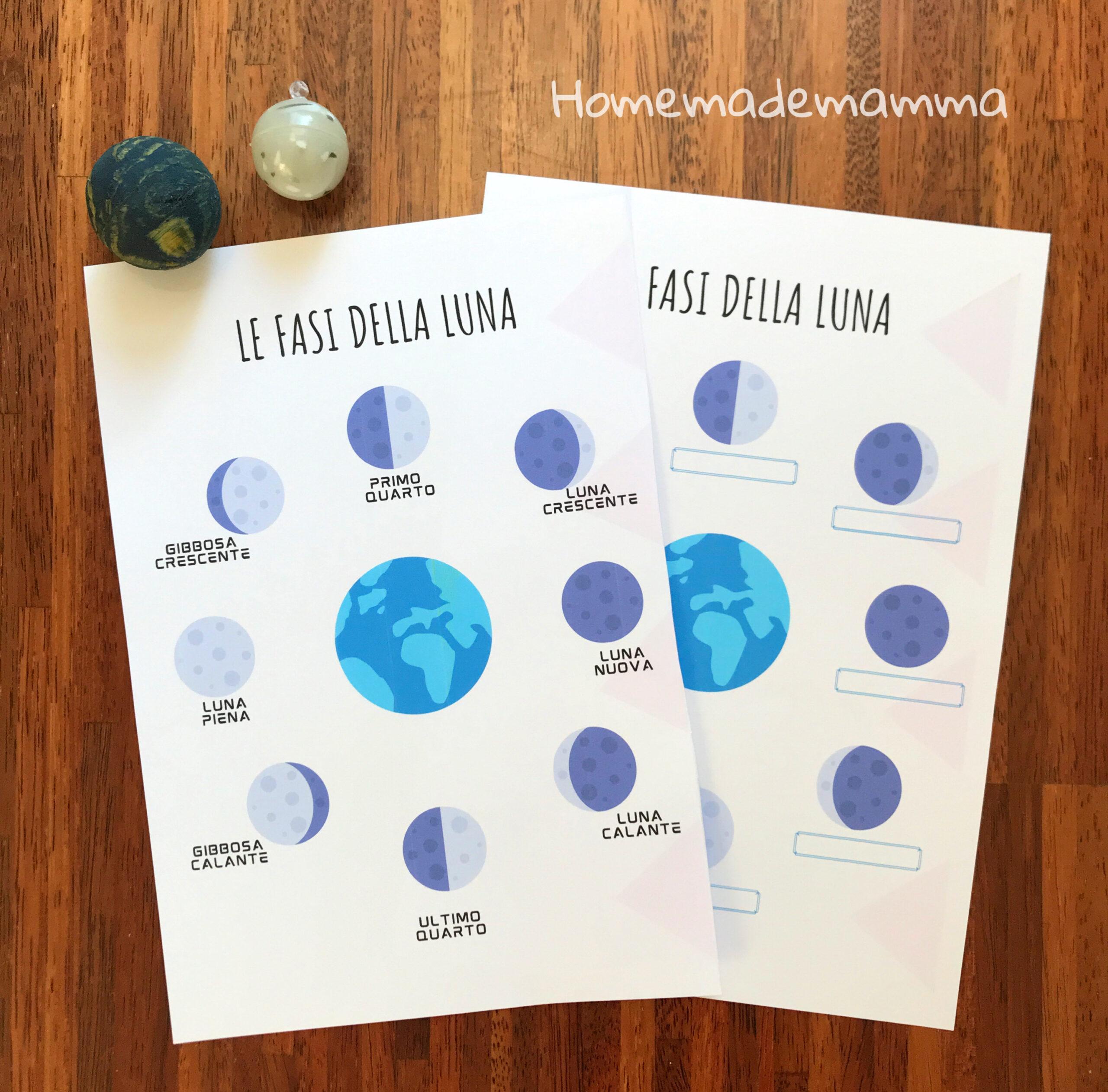 Schede da stampare sulle fasi lunari