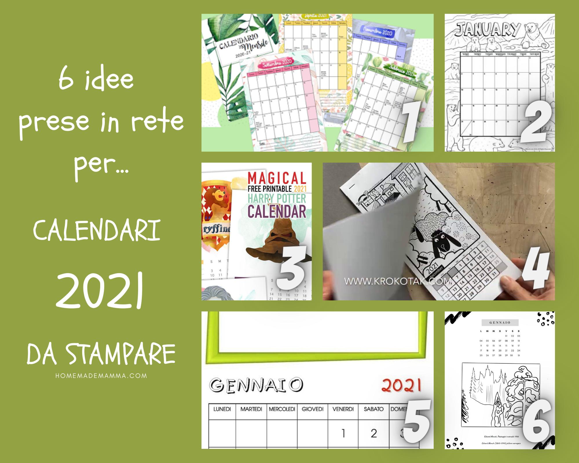 CALENDARI 2021 da stampare bambini