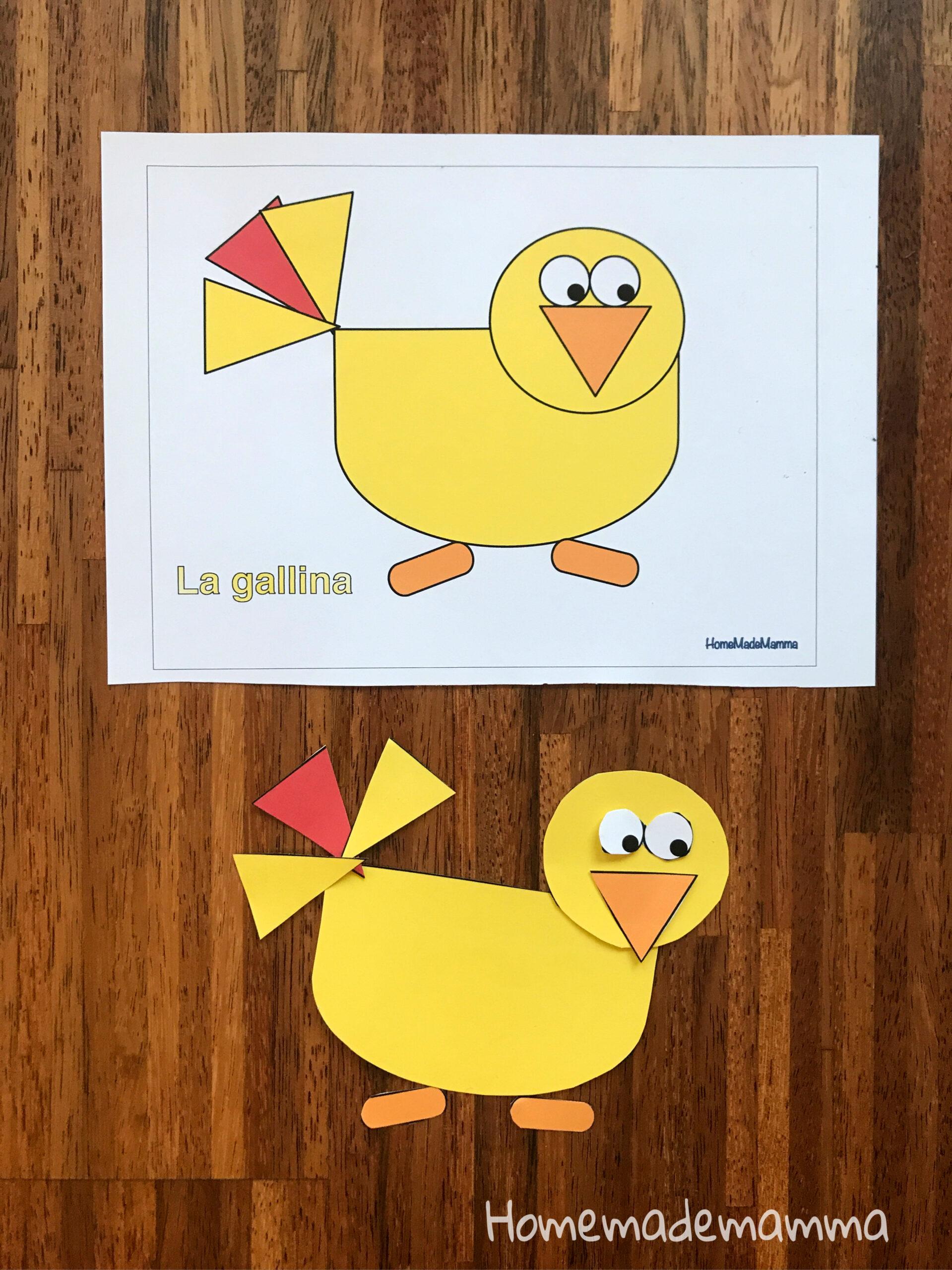 Animali da costruire con le forme da stampare Usare forbici