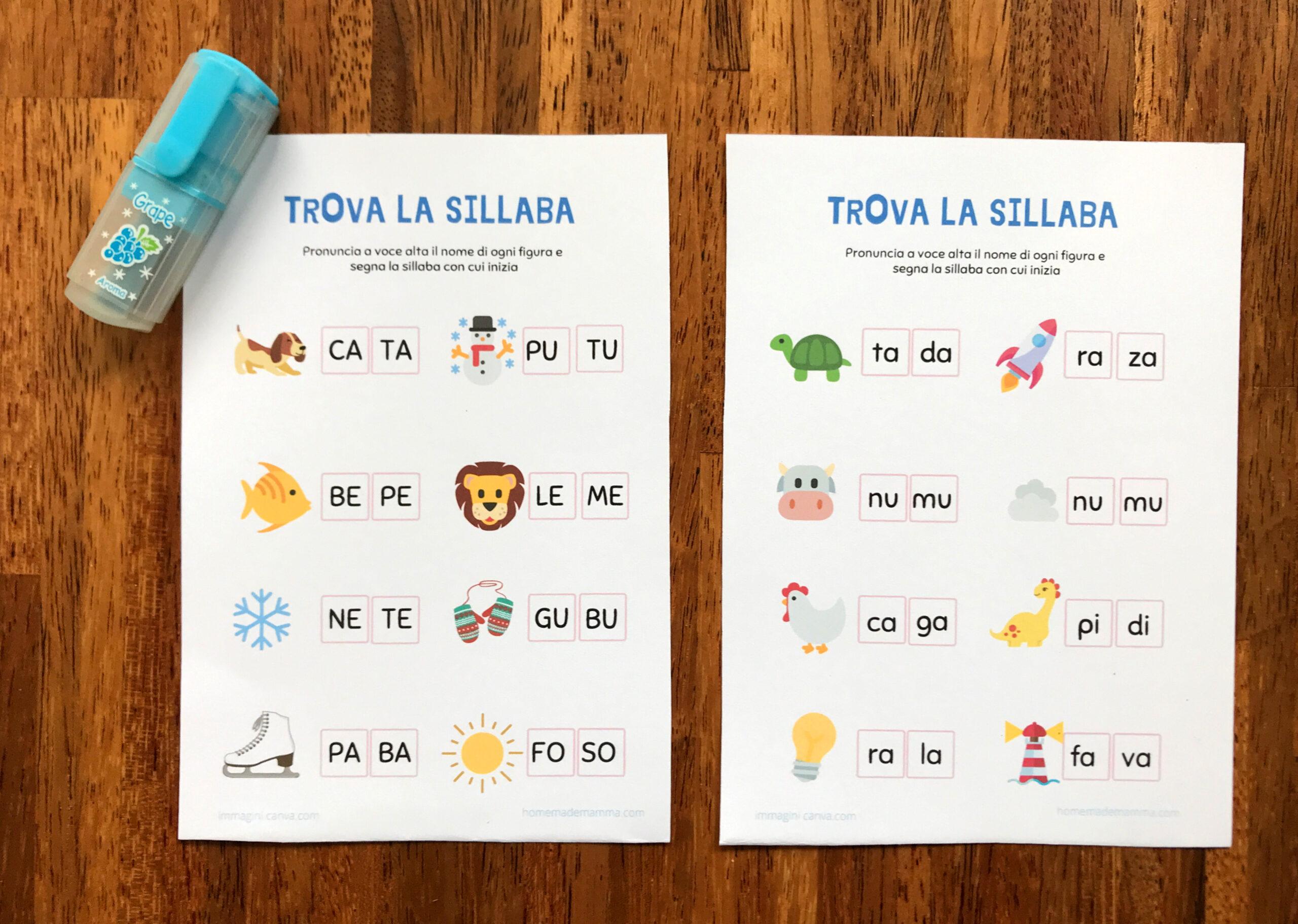Schede per imparare le sillabe