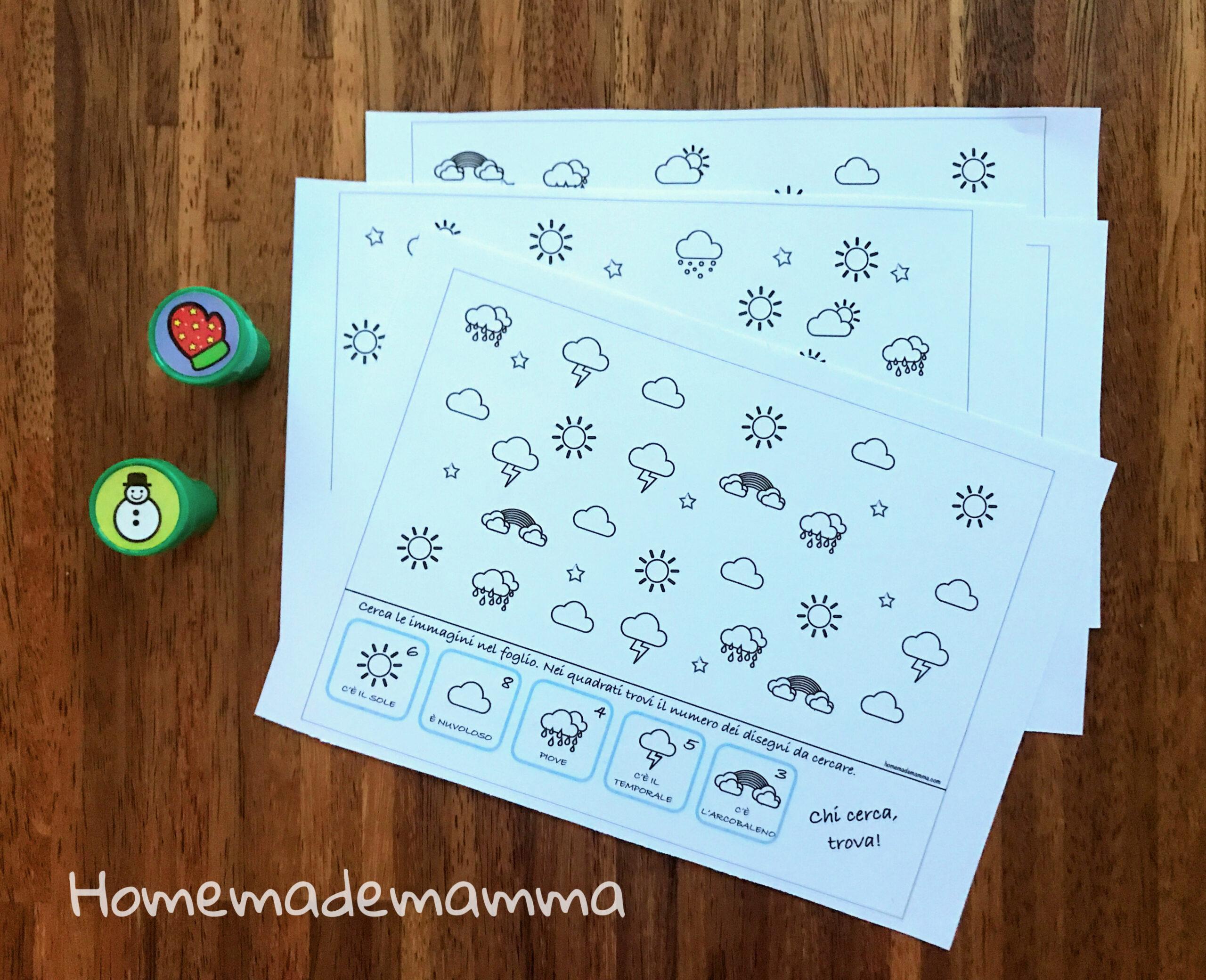 Schede con giochi di ricerca per bambini sul tempo