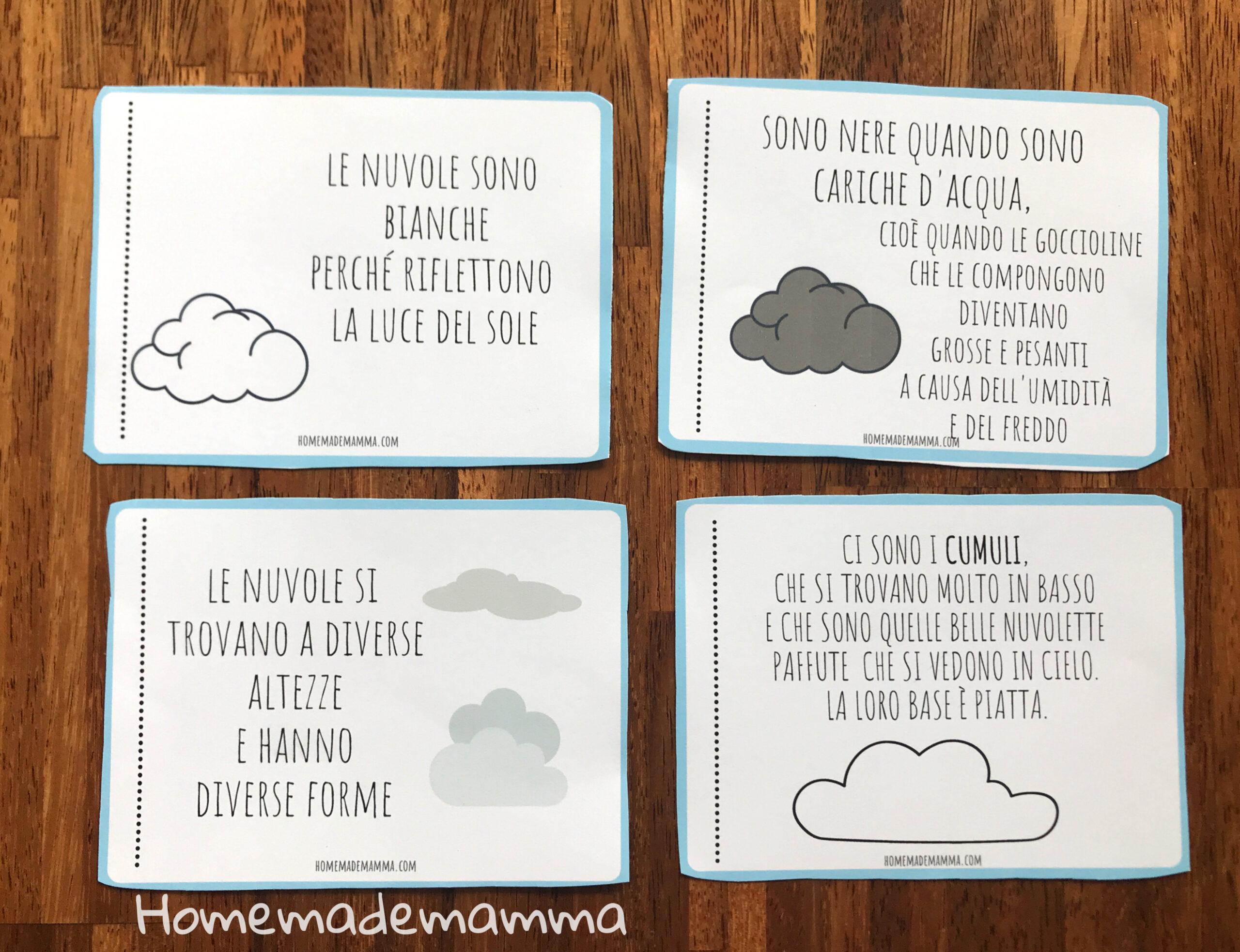 Libretto per scoprire le nuvole Da stampare Per bambini