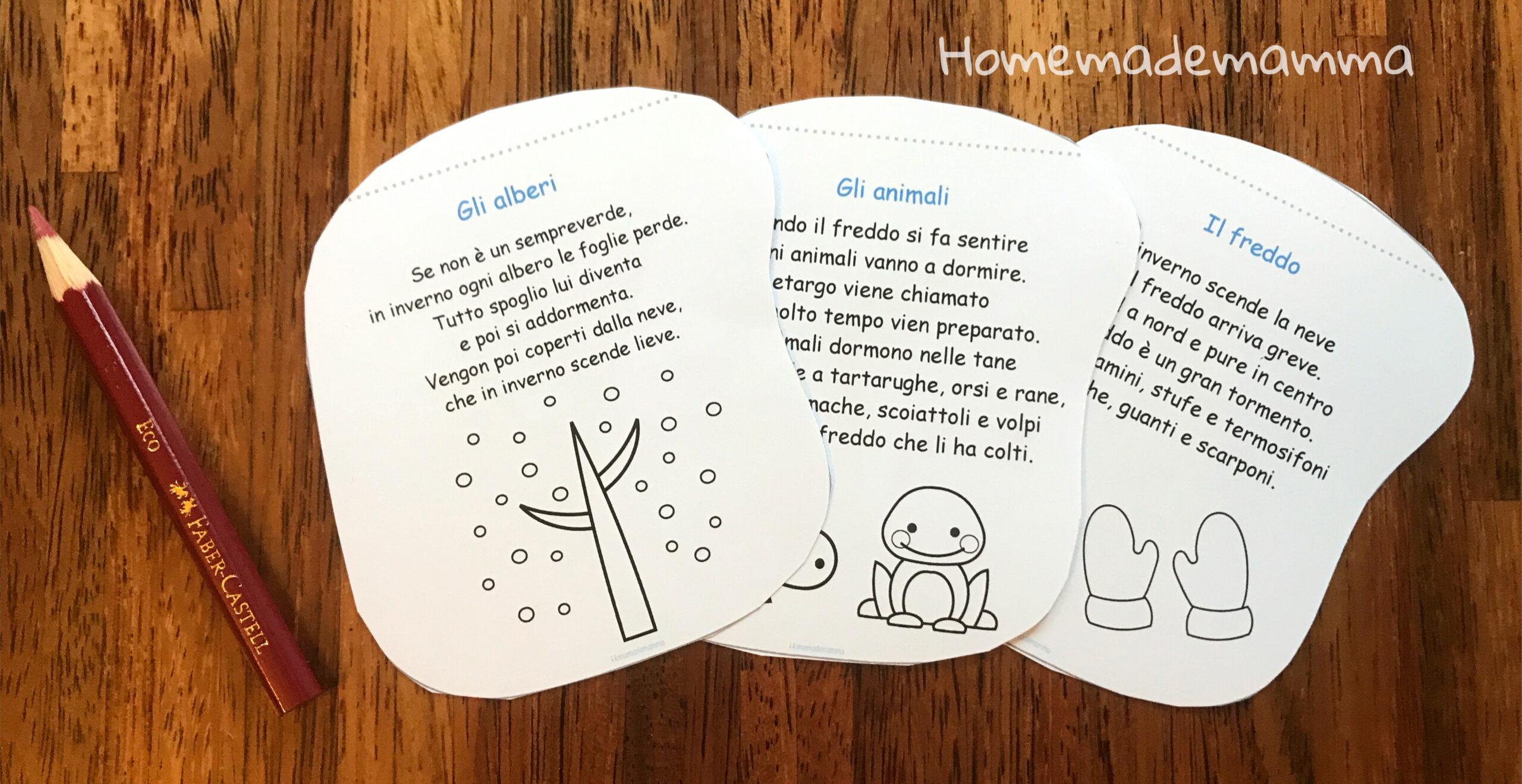 libretto inverno rima da colorare per bambini da stampare