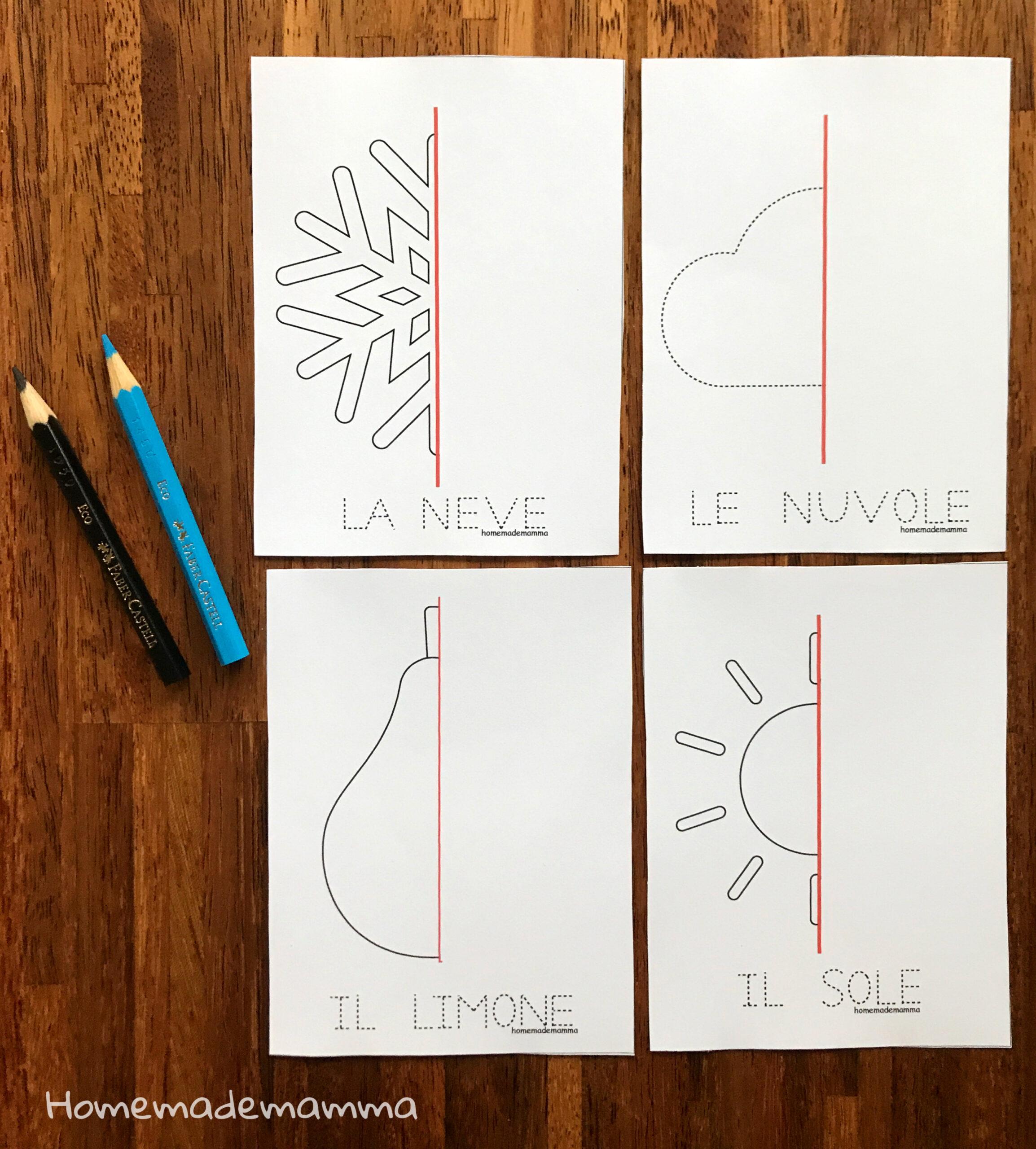 schede simmetria inverno da stampare