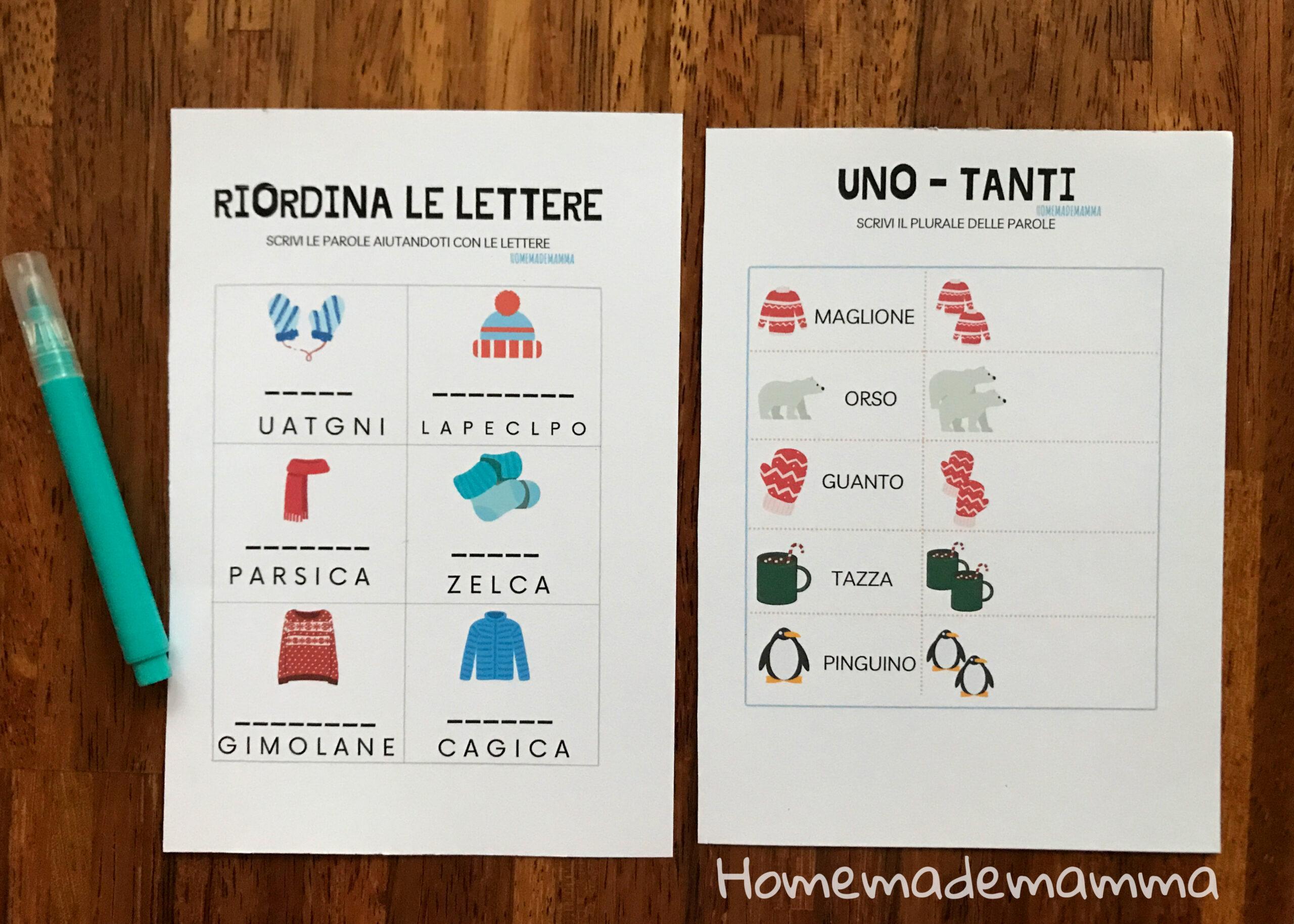 Schede inverno italiano sui nomi da stamp