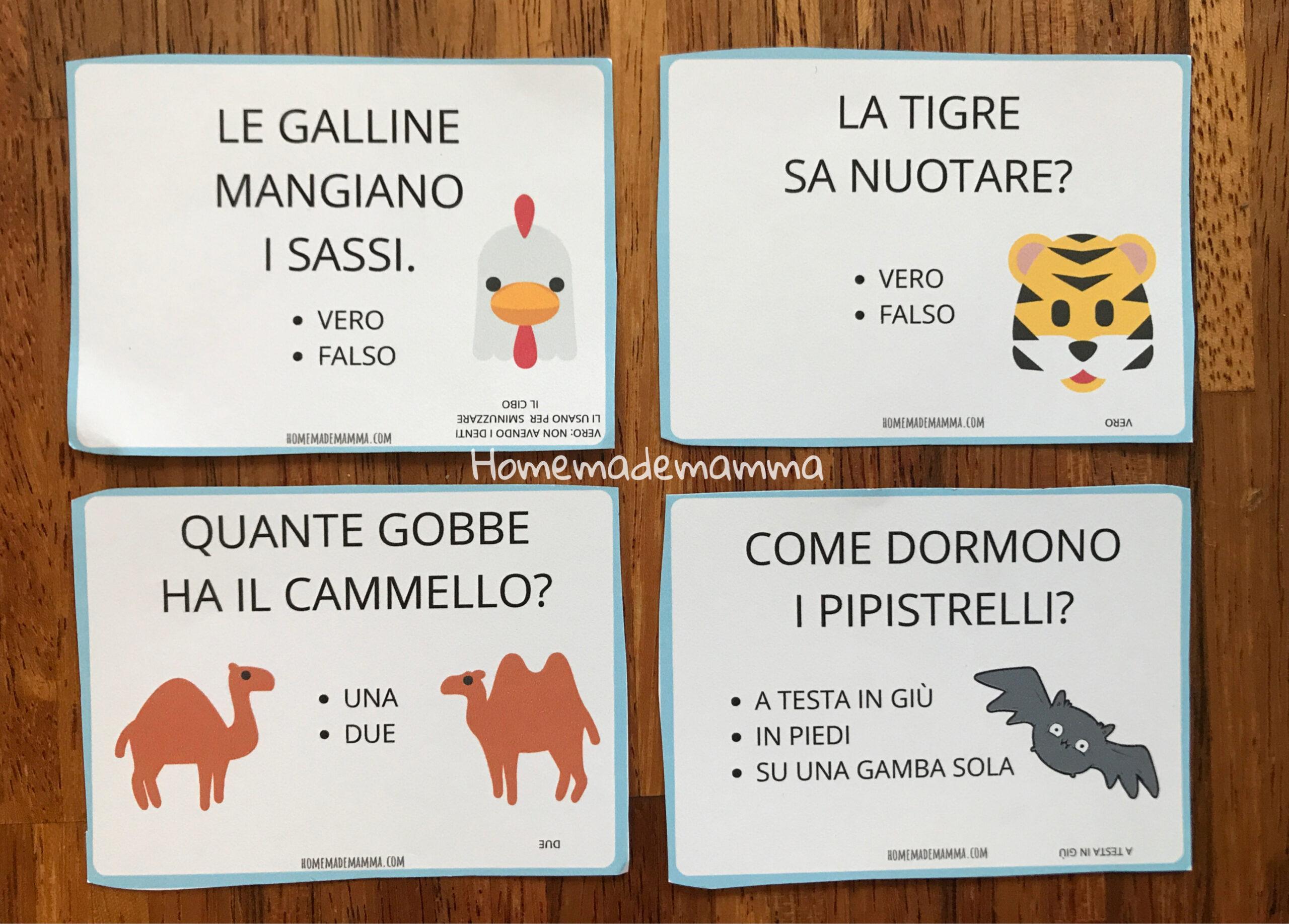 Carte curiosità animali da stampare indovinelli