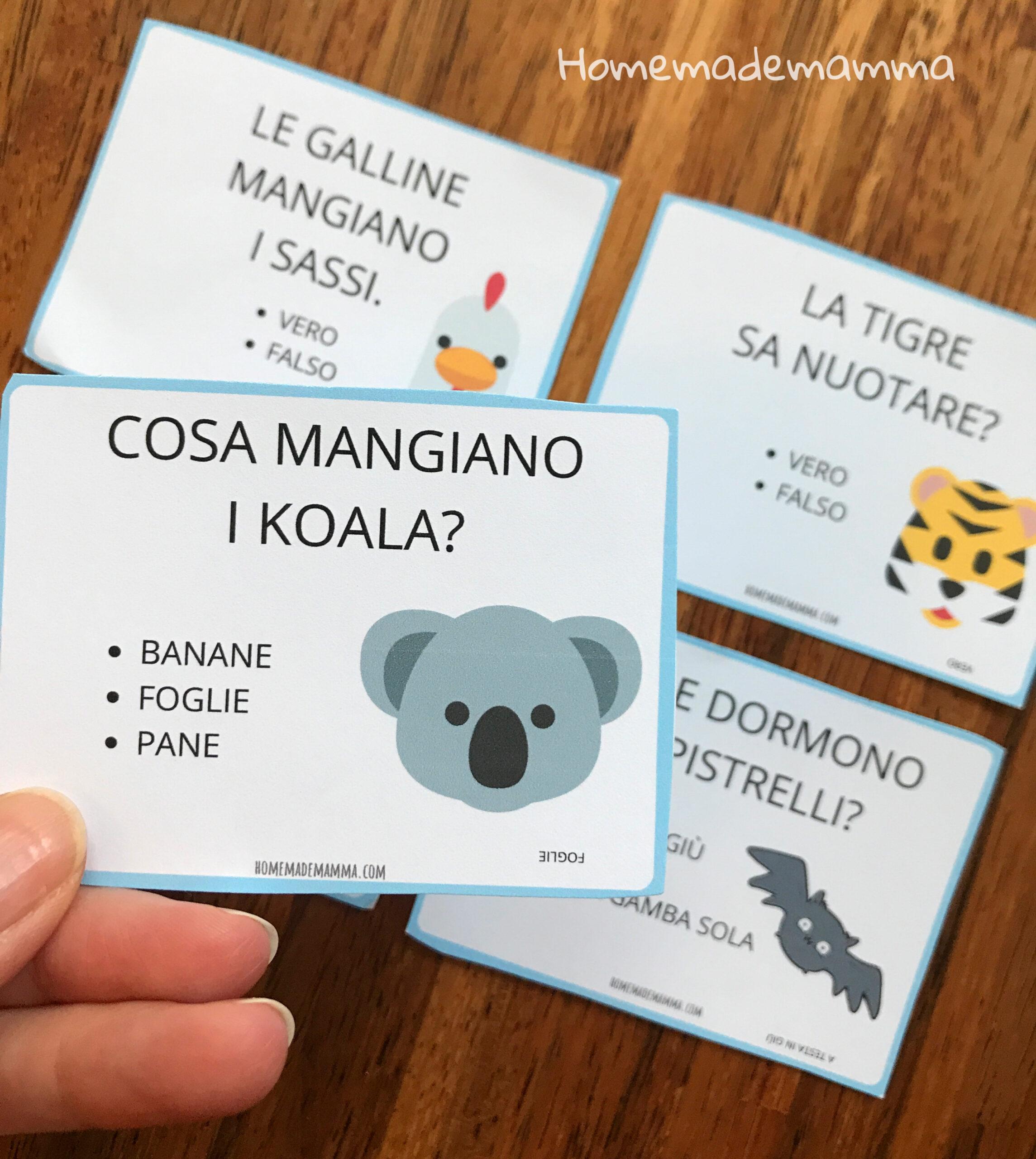 Carte curiosità animali da stampare indovinelli bambini
