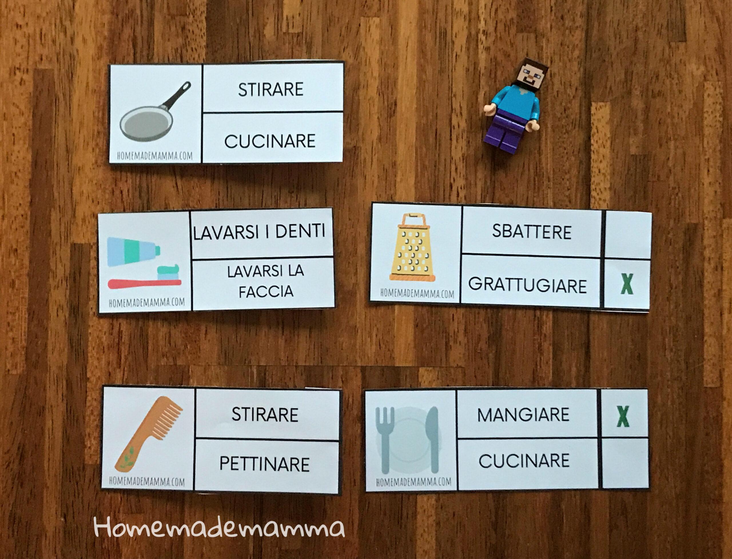 Carte e verbi azioni italiano L2 da stampare