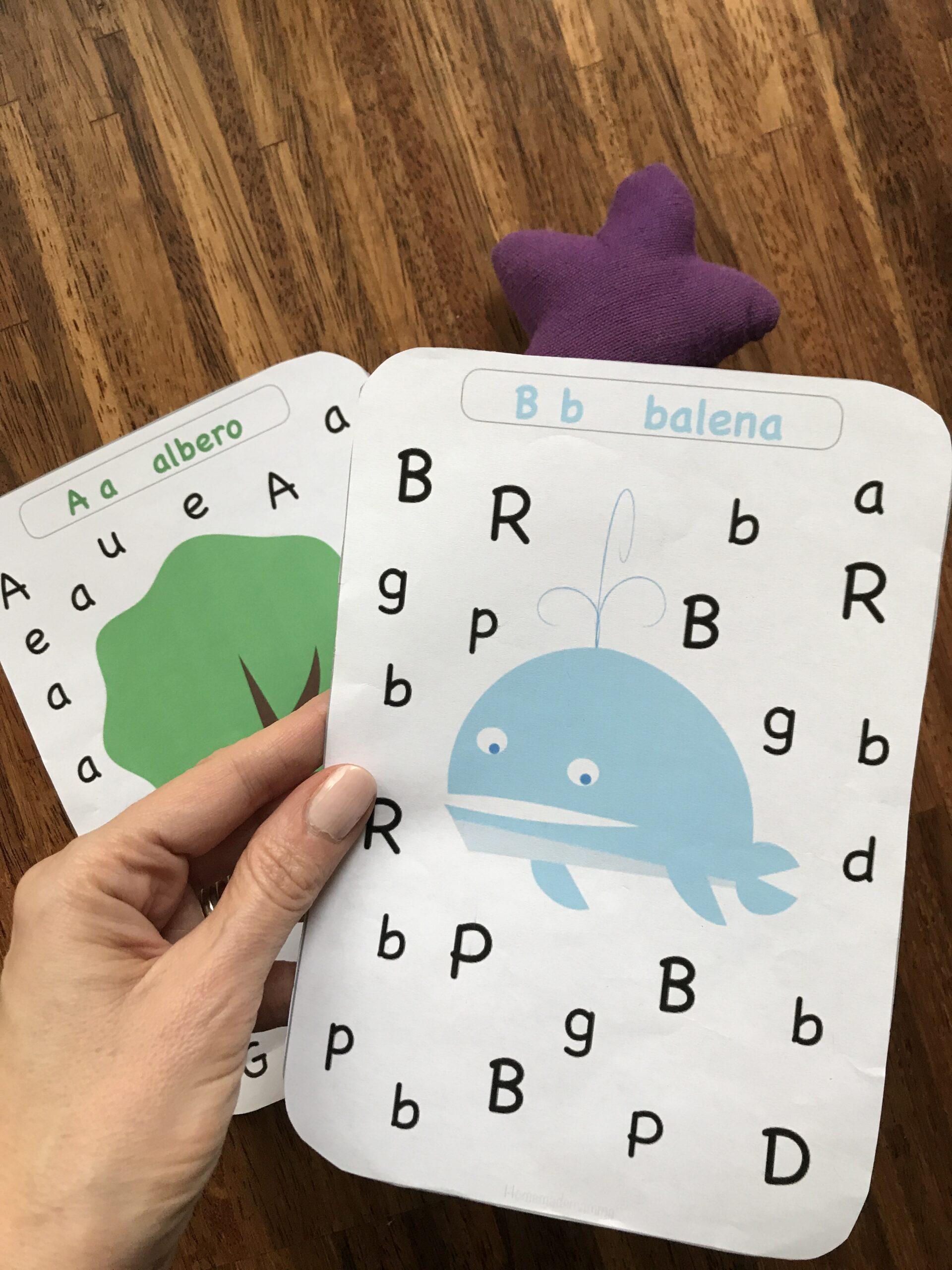 carte per imparare l'alfabeto stampatello