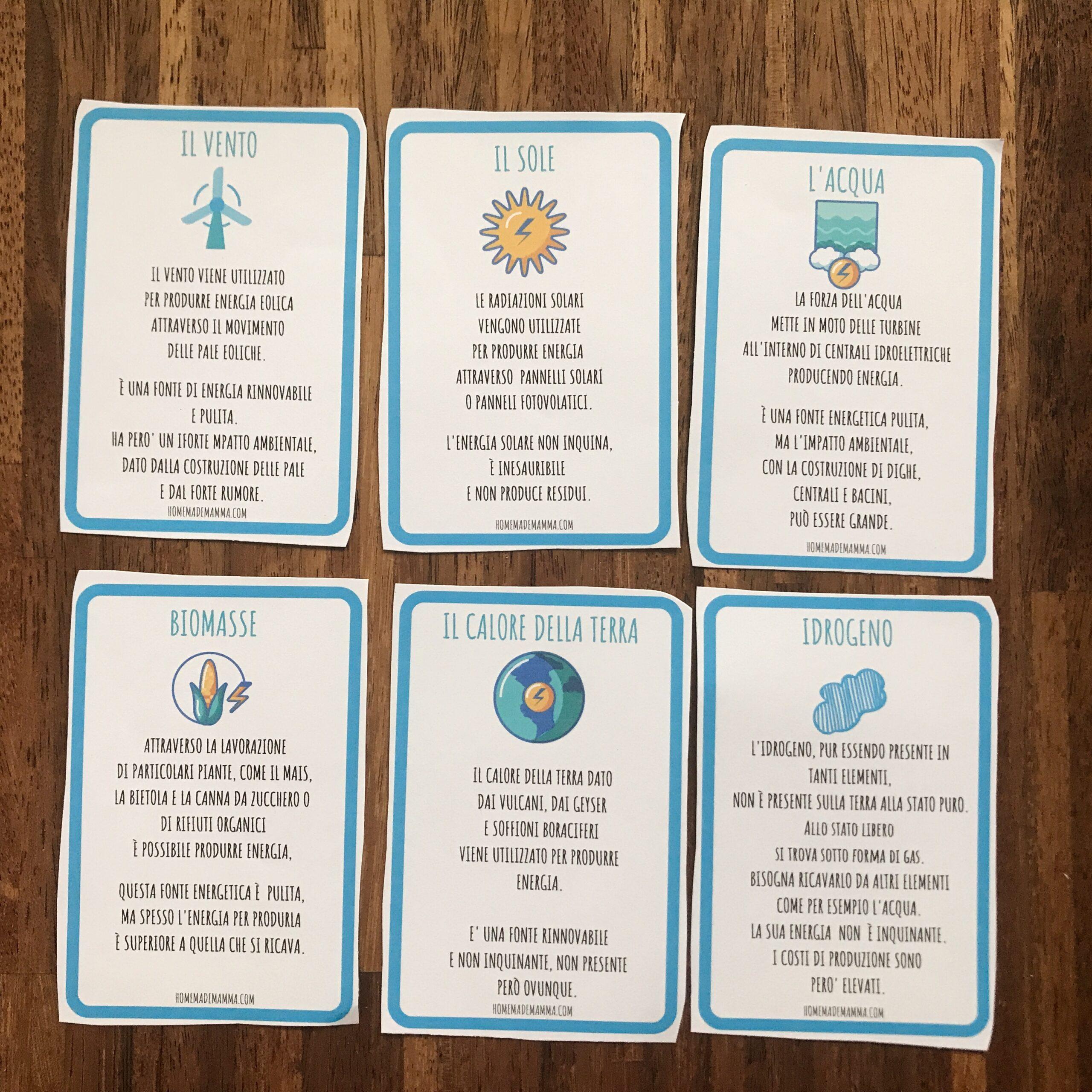 schede operative fonti energetiche rinnovabili scuola primaria da stampare