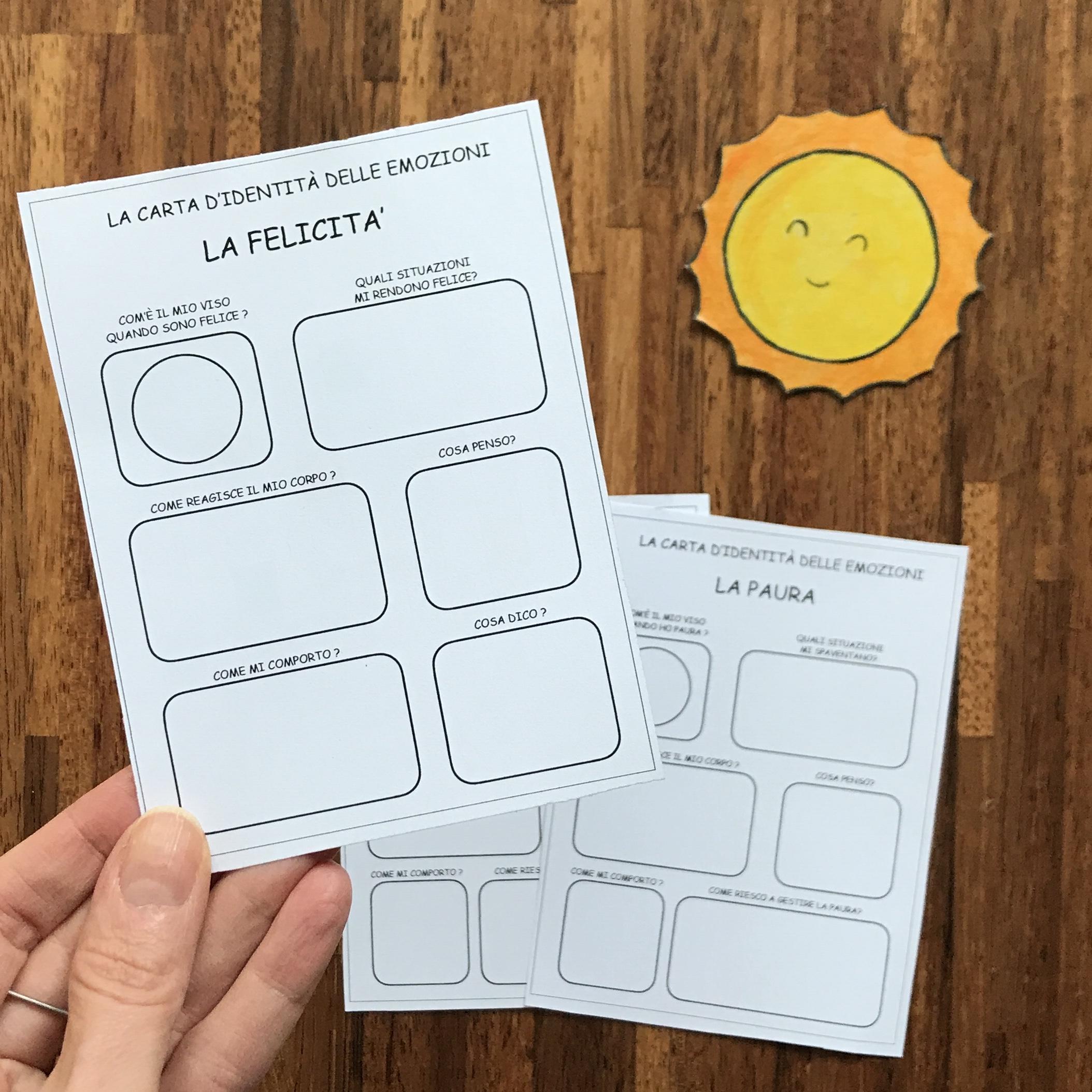 Carta d'identità delle emozioni da stampar
