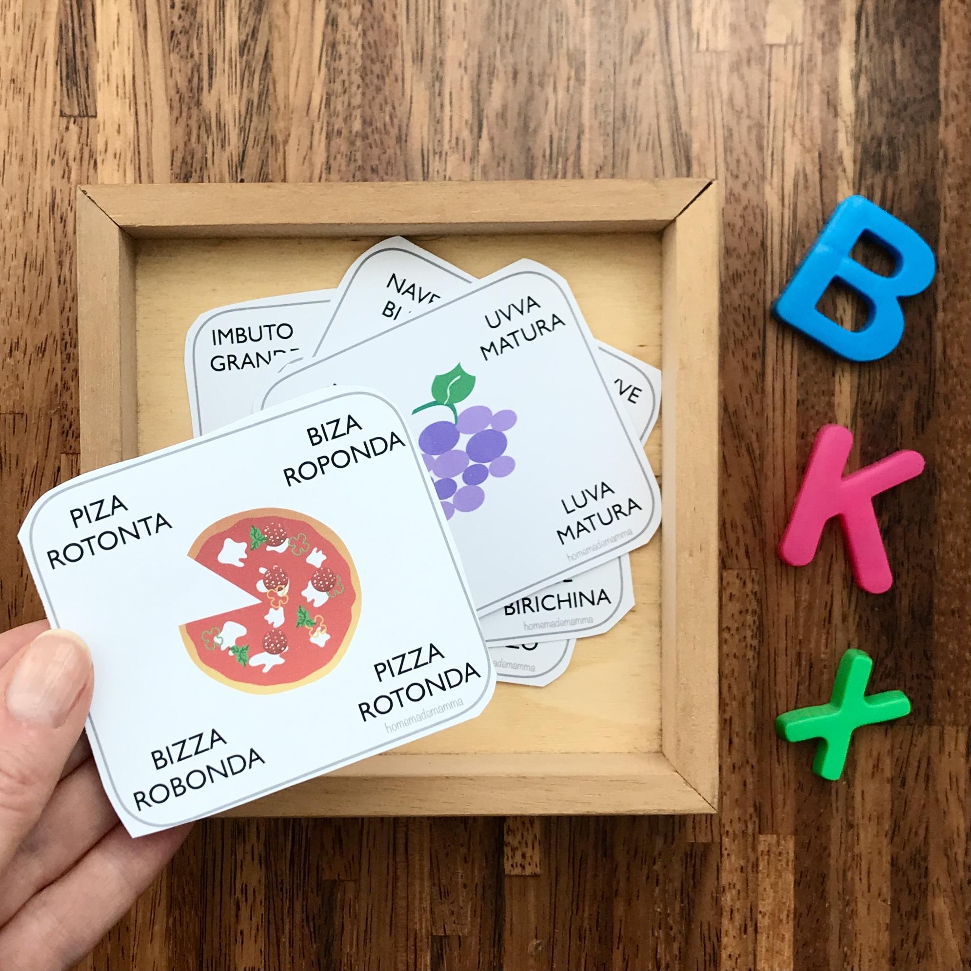 Gioco delle carte per imparare a leggere da