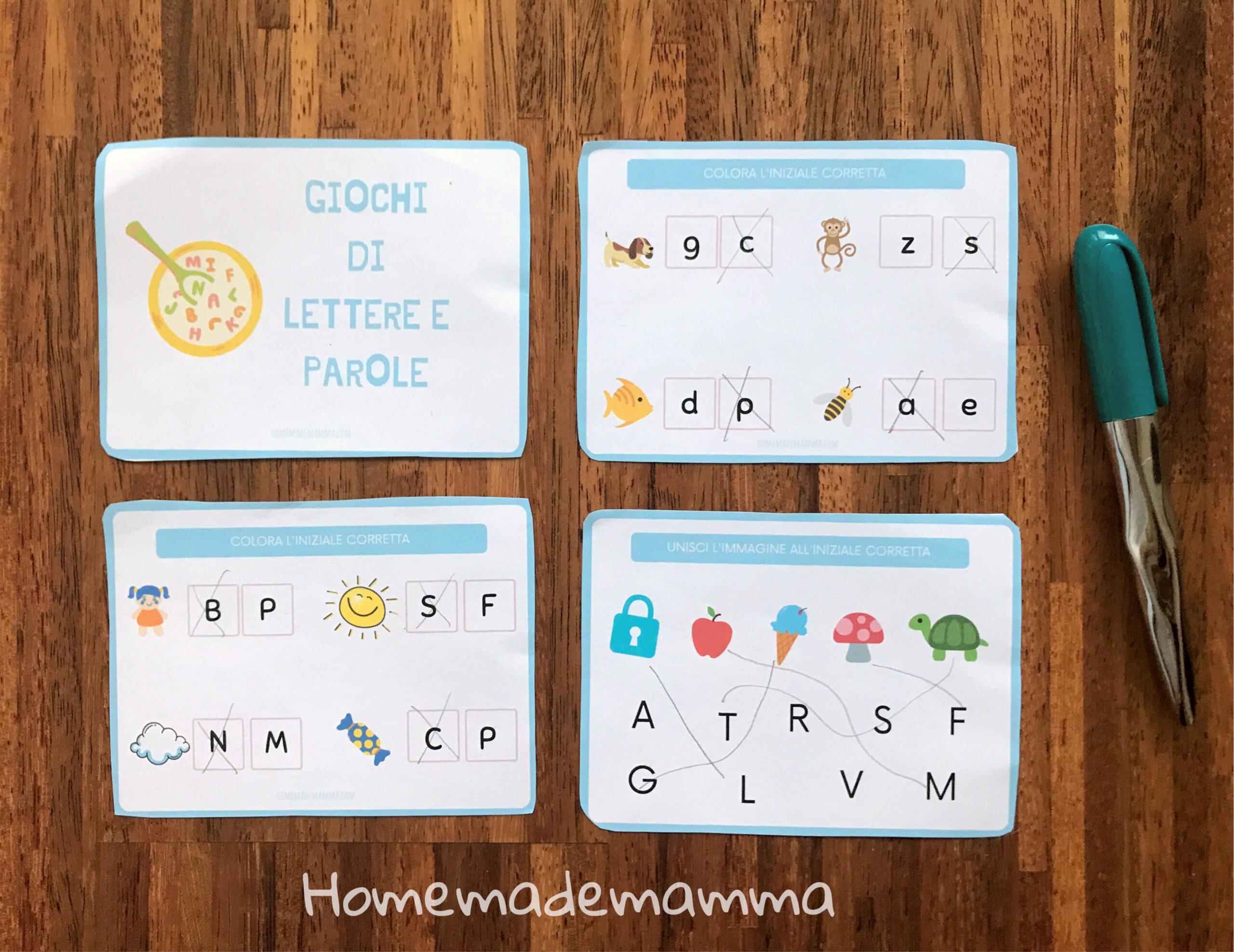 Schede sulle lettere da stampare