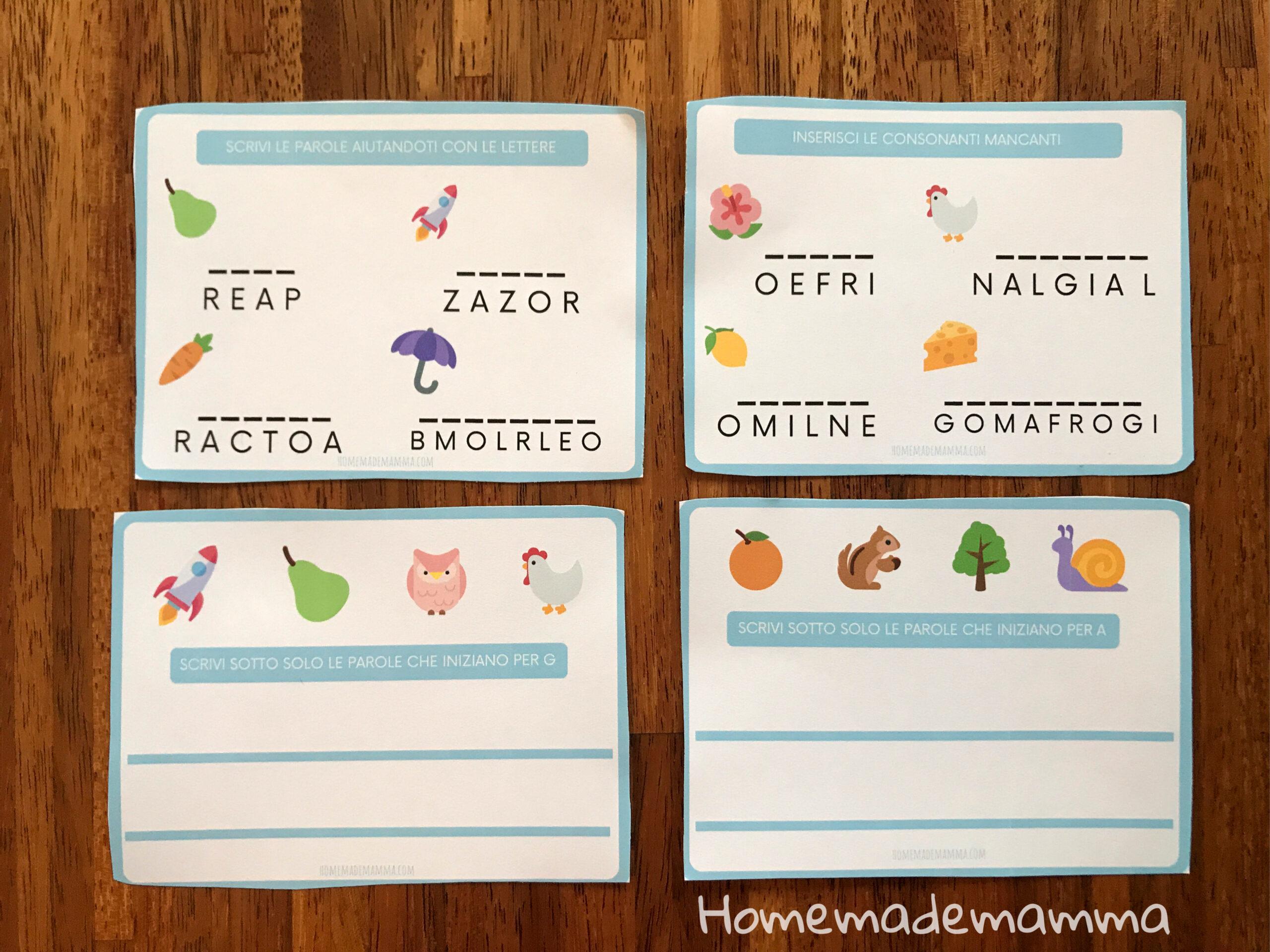 Schede sulle lettere da stampare Per imparare a scrivere e a leggere bambini
