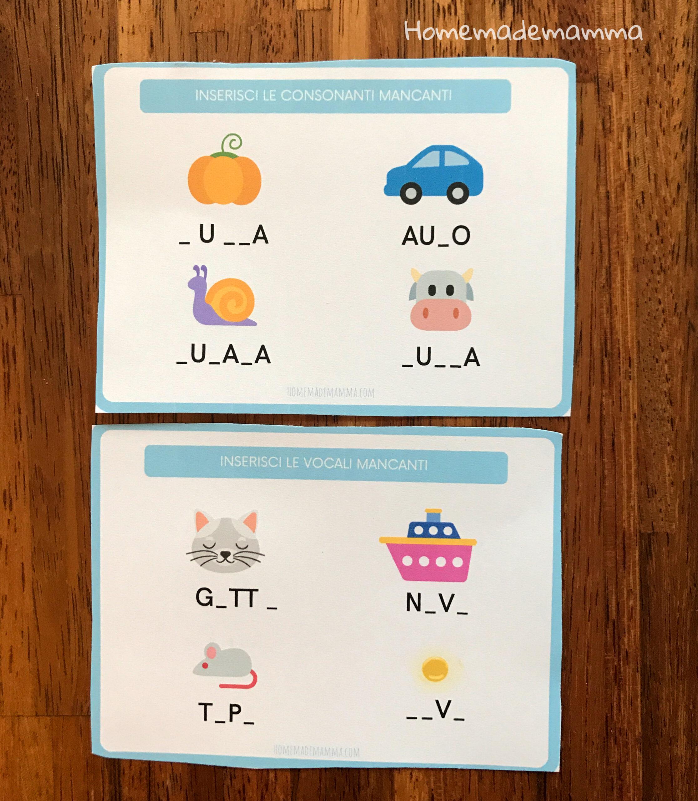 Schede sulle lettere da stampare Per imparare a scrivere e a leggere Scuola primaria