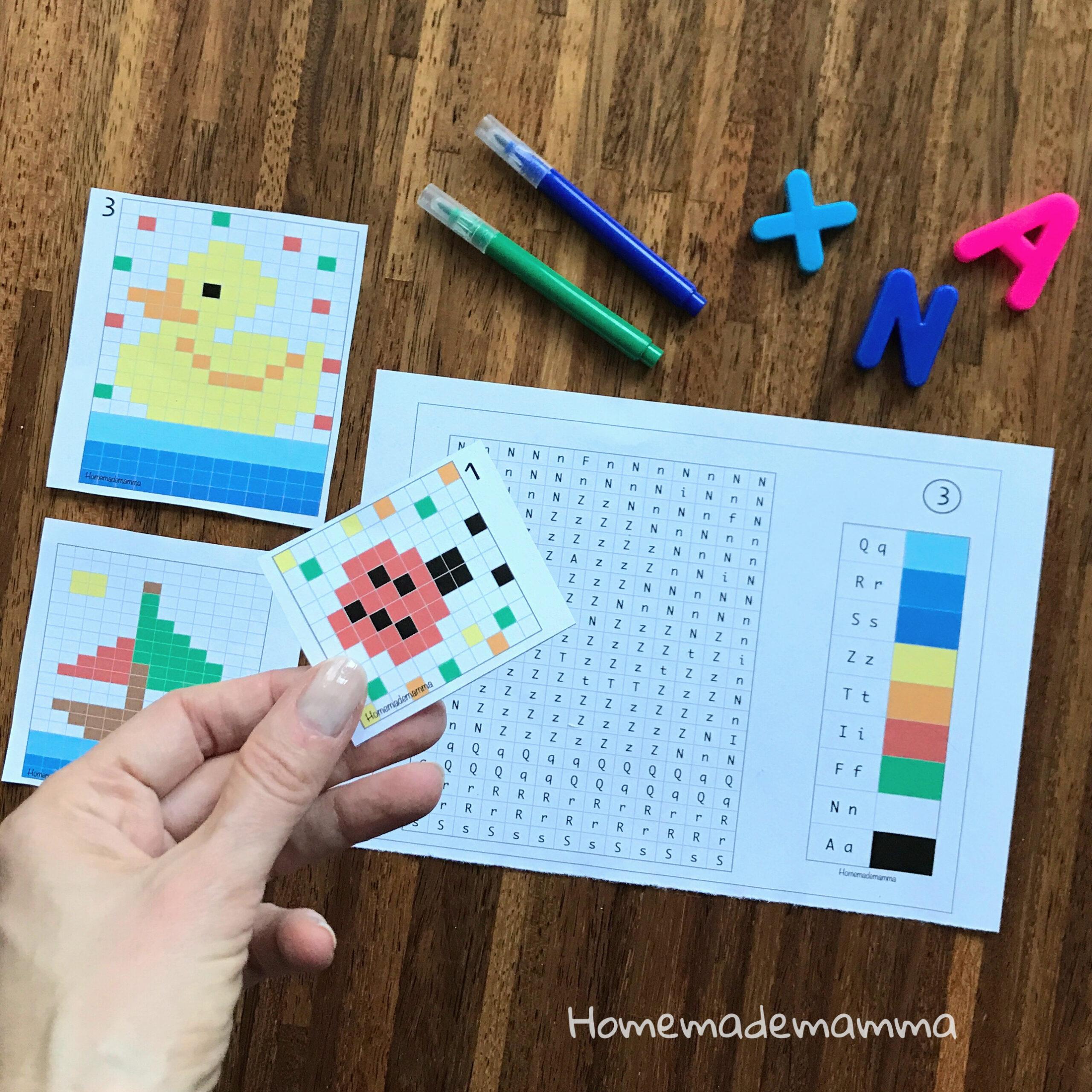 Schede Coding alfabeto da stampare colorare