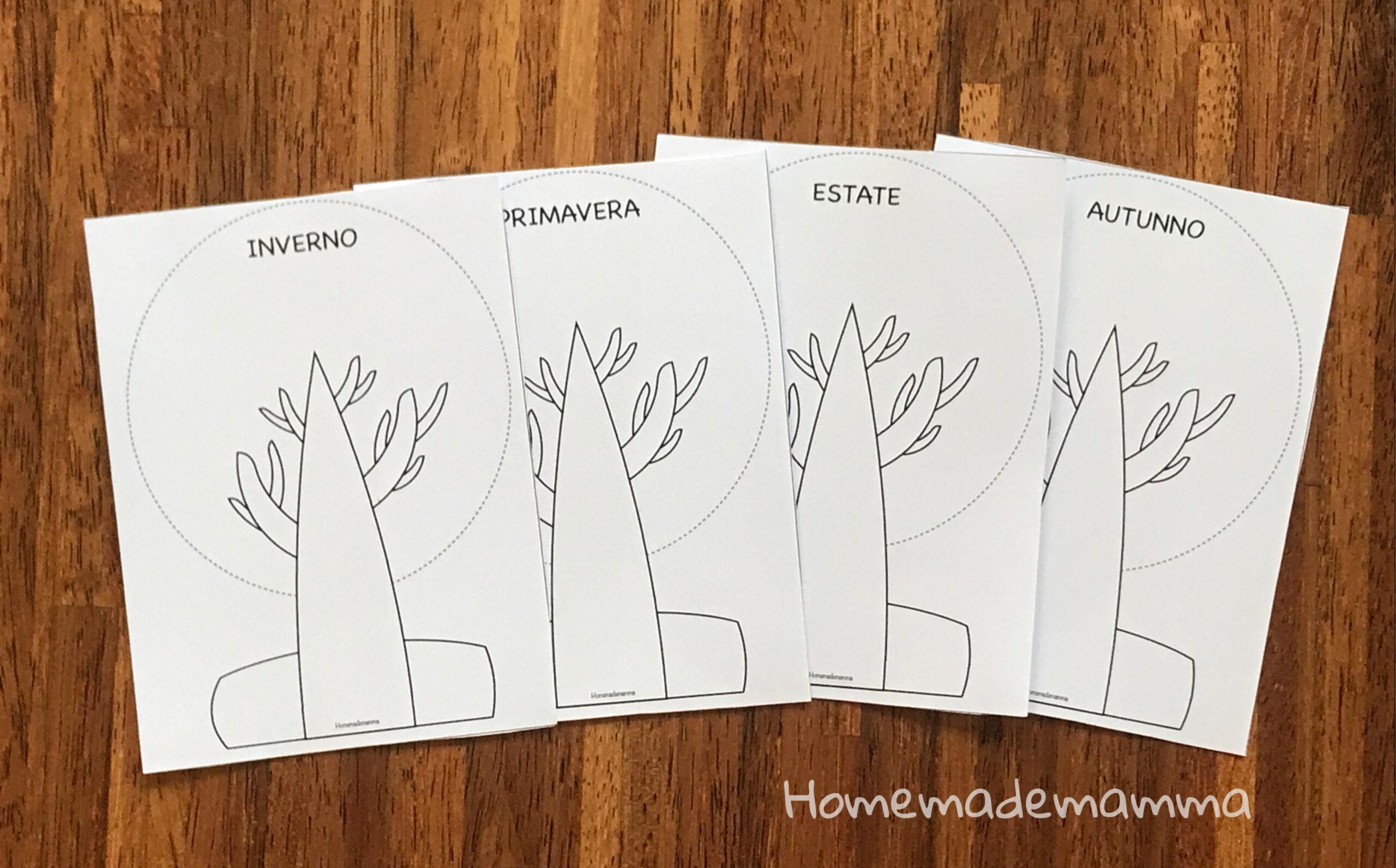 Albero delle quattro stagioni da stampare e colorare