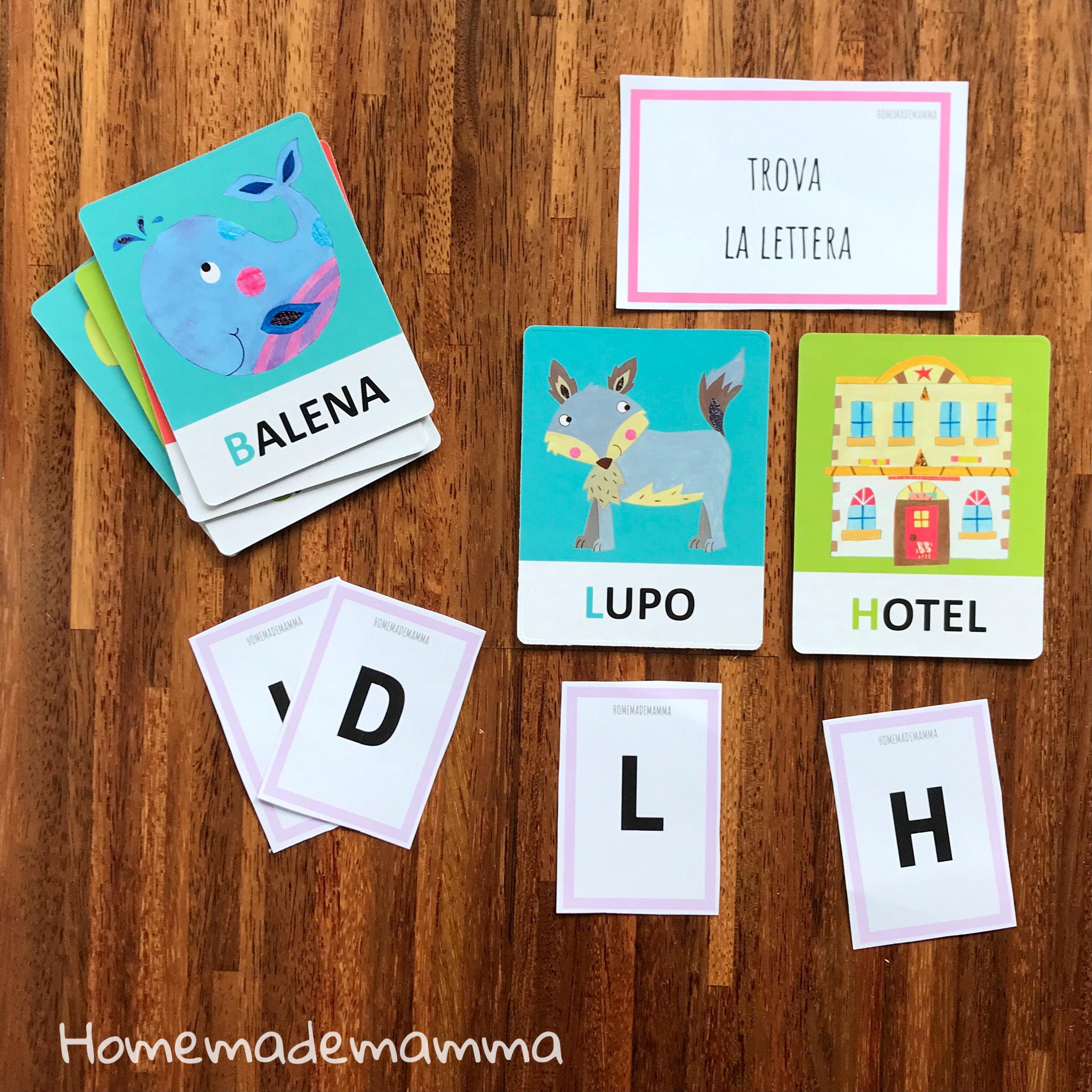 gioco headu flashcards attività montessori fonetiche tattili lettere bambini