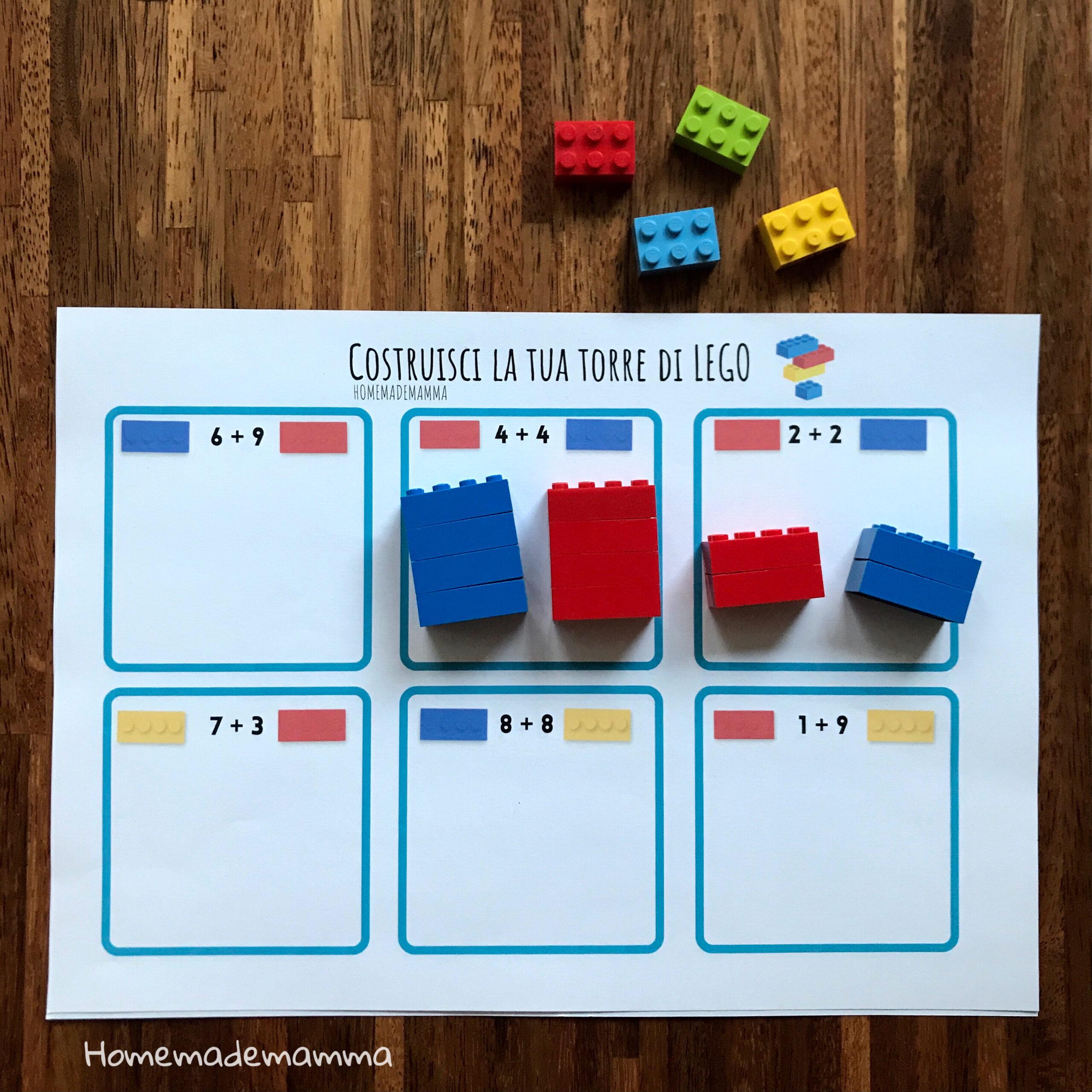 numeri e quantità schede con LEGO
