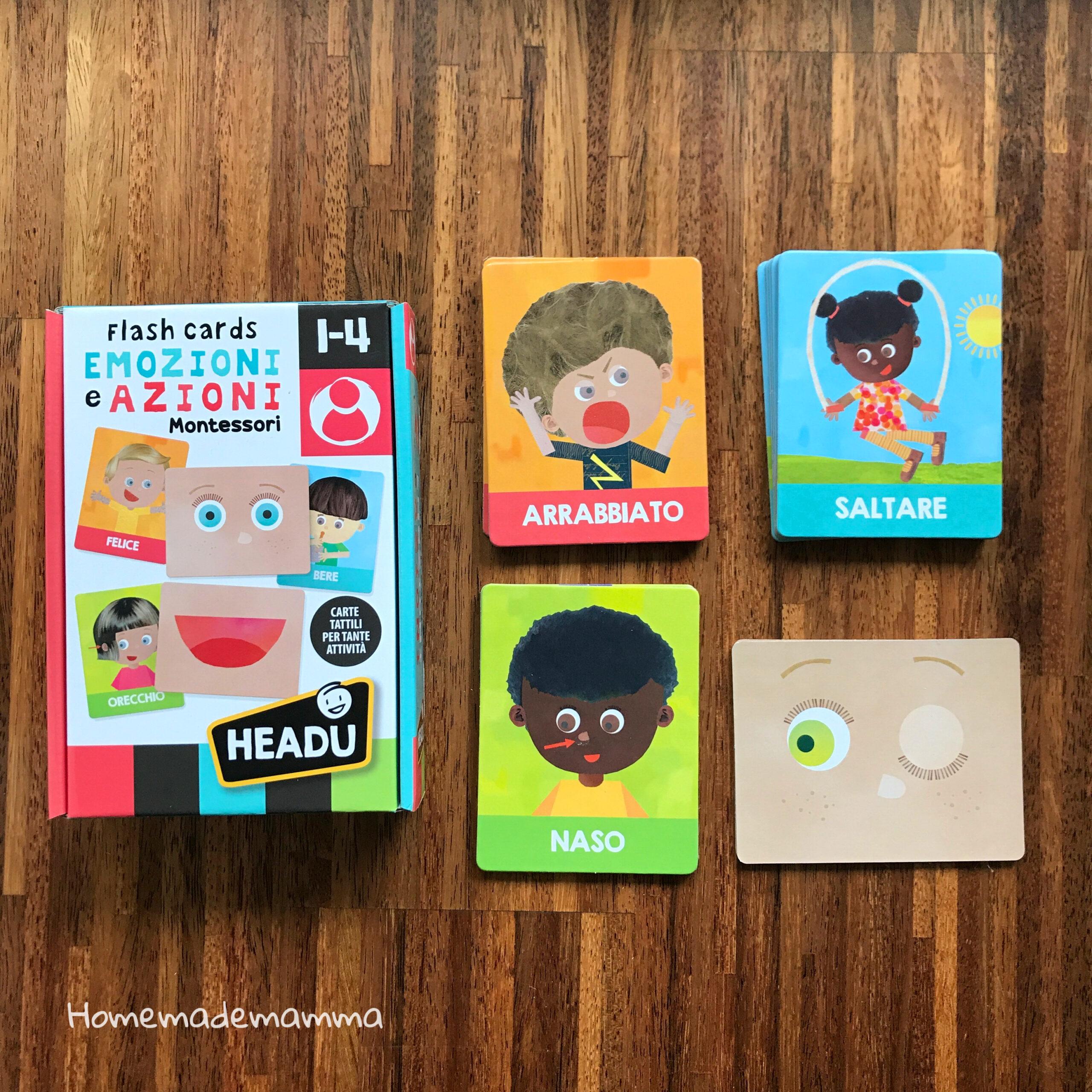 Gioco azioni emozioni Montessori bambini Headu
