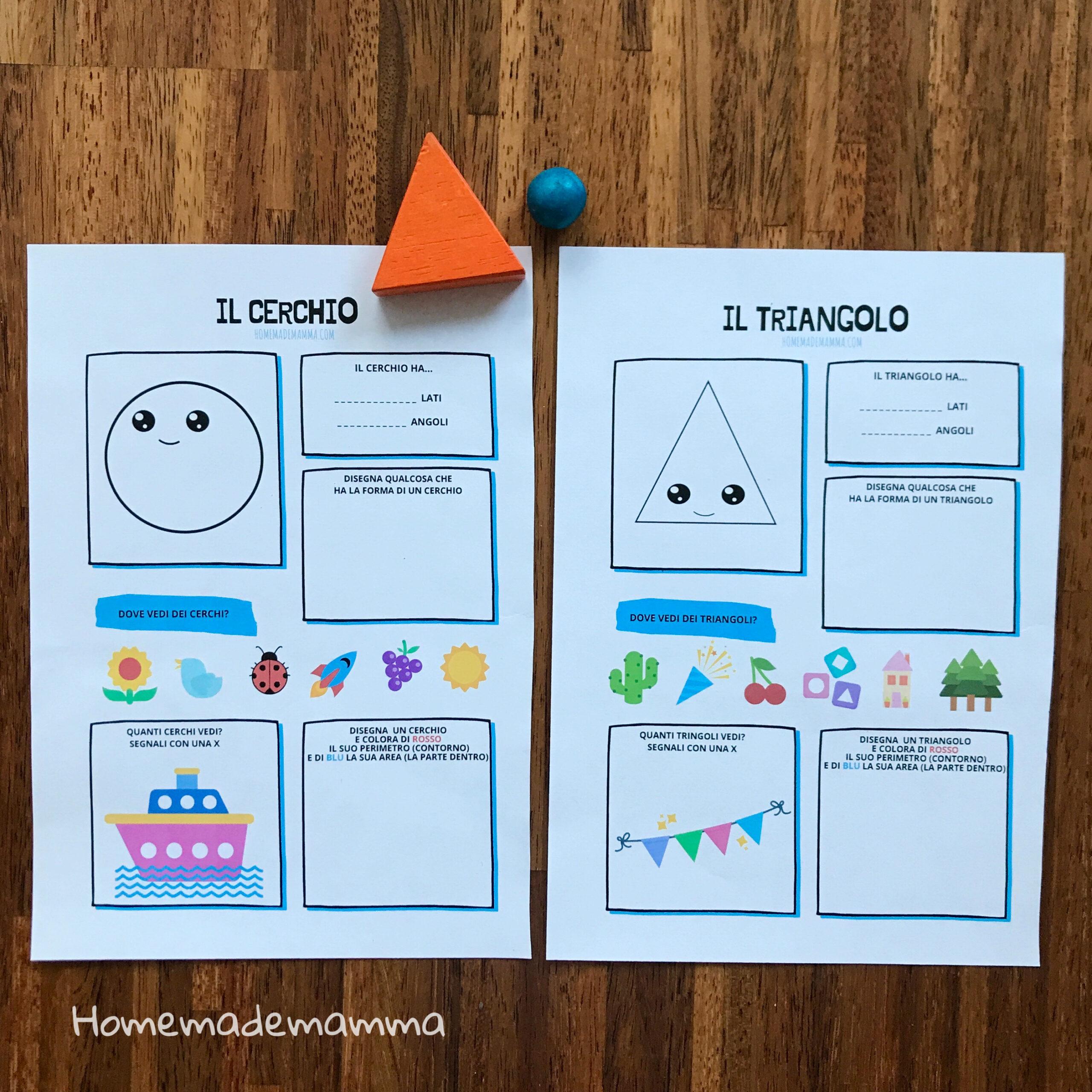schede forme da stampare scuola bambini