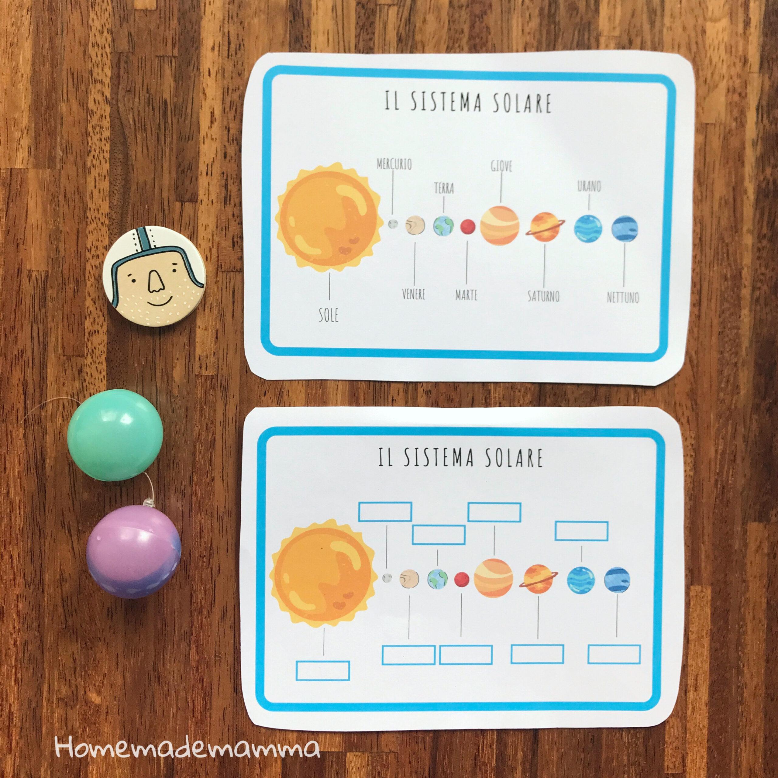 scheda stampare sul sistema solare scuola primaria