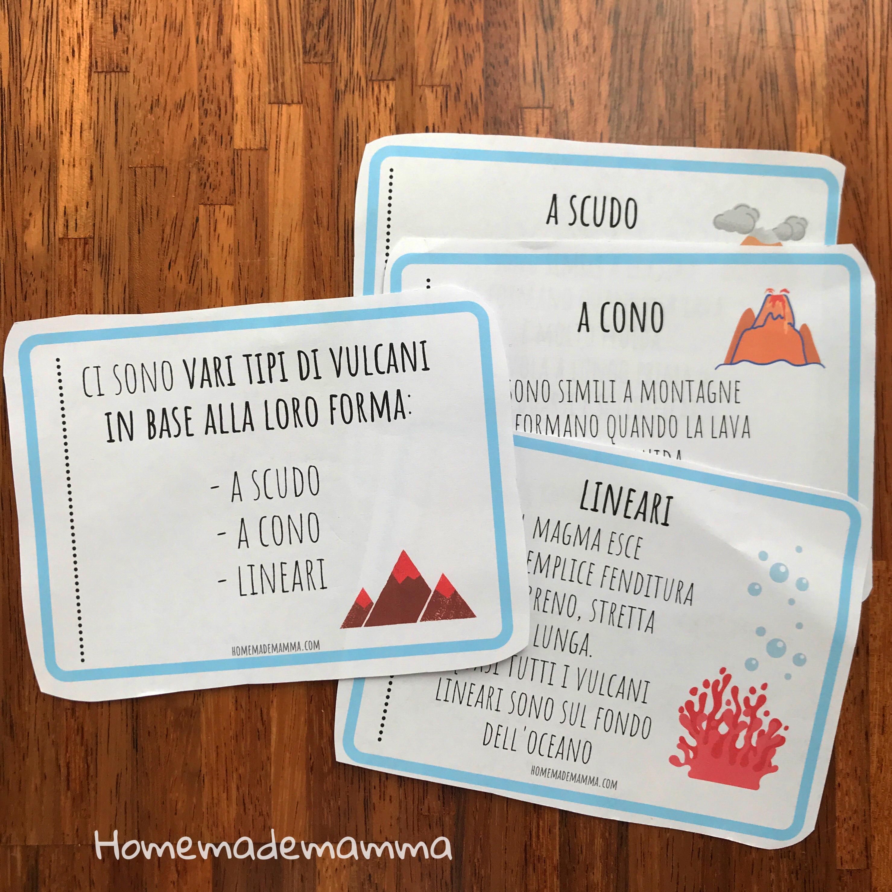 Schede dei giochi e attività sui vulcani bam
