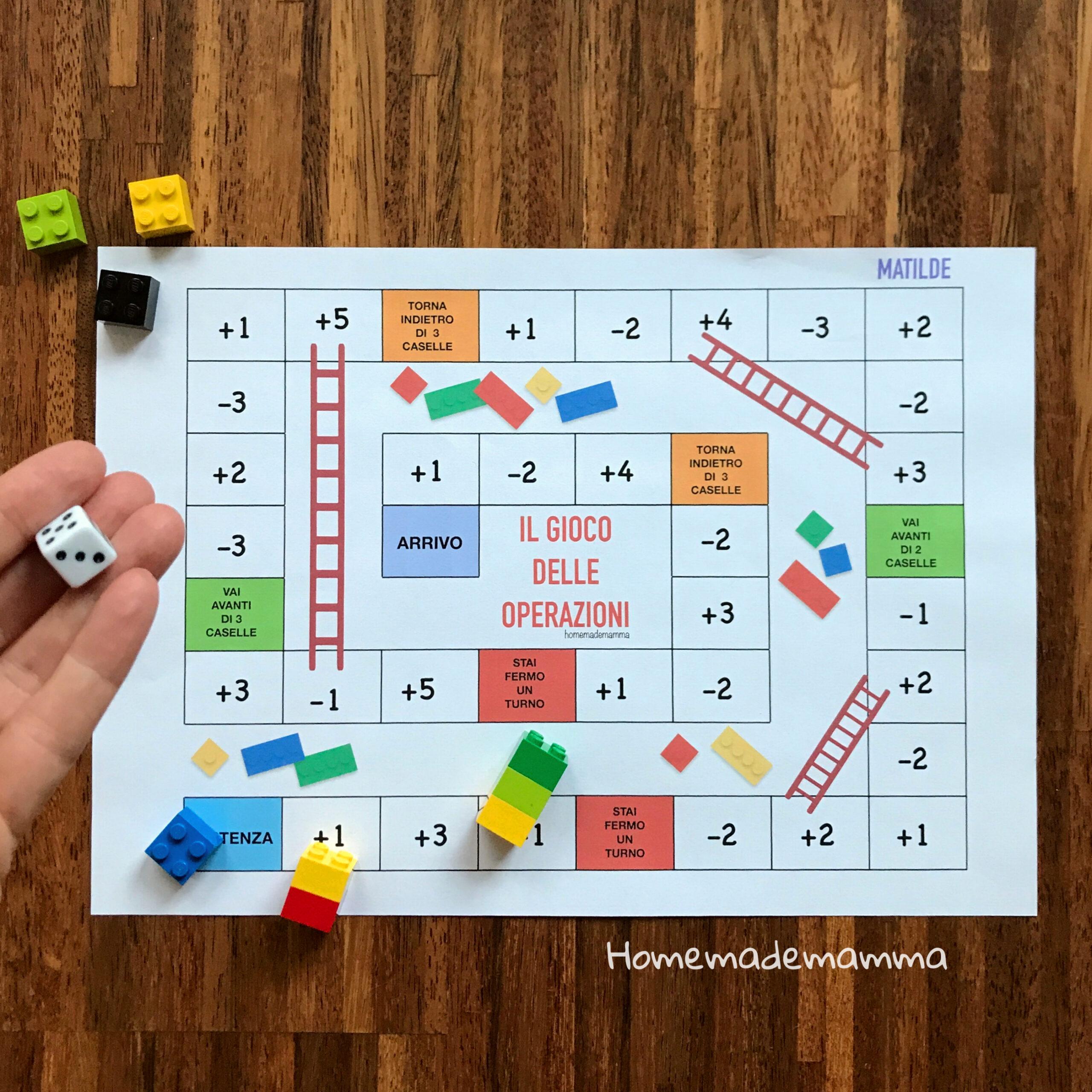 numeri e quantità gioco dell'oca con LEGO da stampare