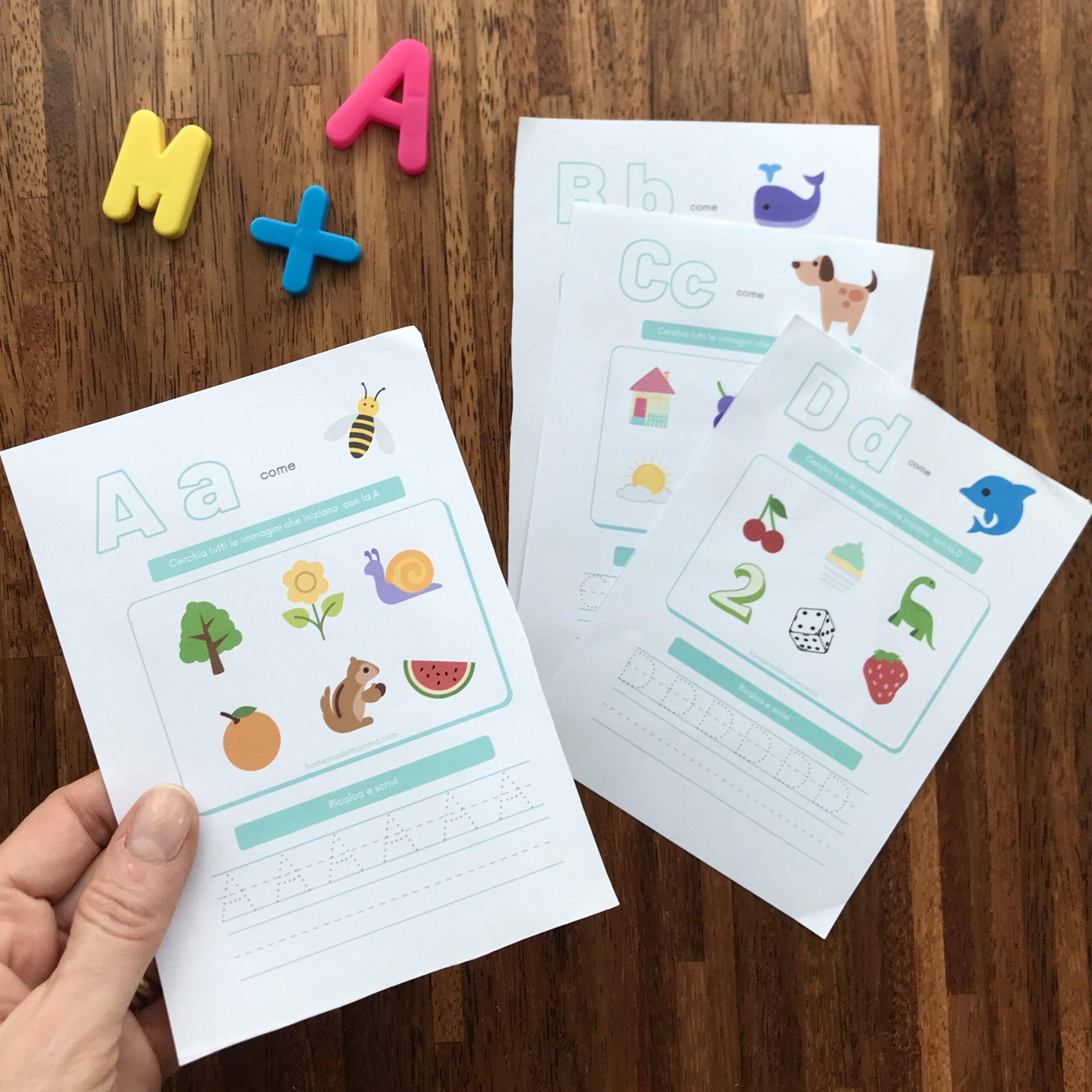schede Per imparare le lettere dell'alfabeto da stampare