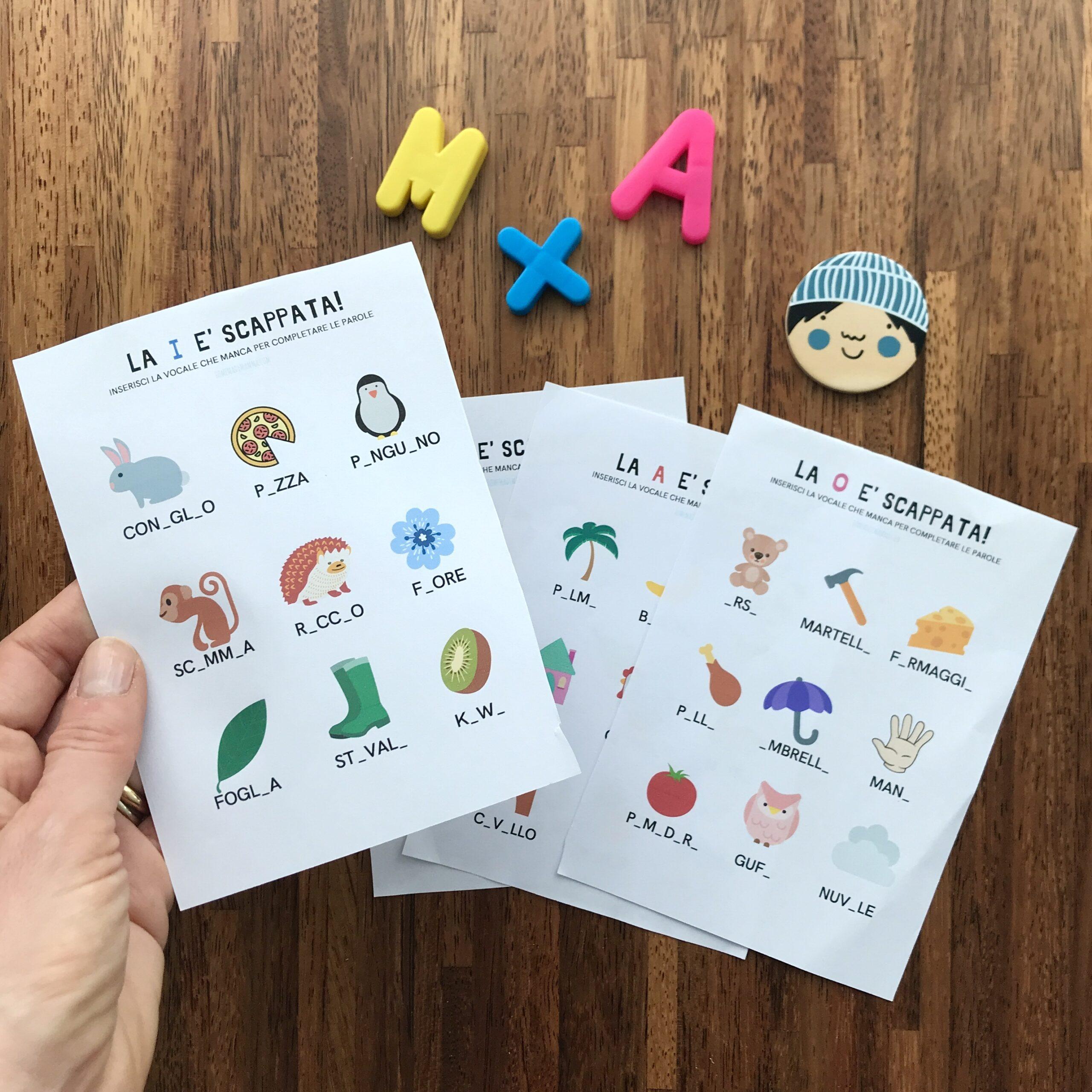 schede Per imparare le lettere le vocali da stampare