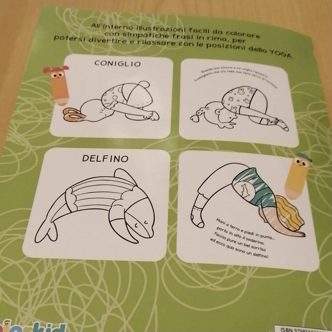 Libro yoga da colorare con filastrocche per bambini