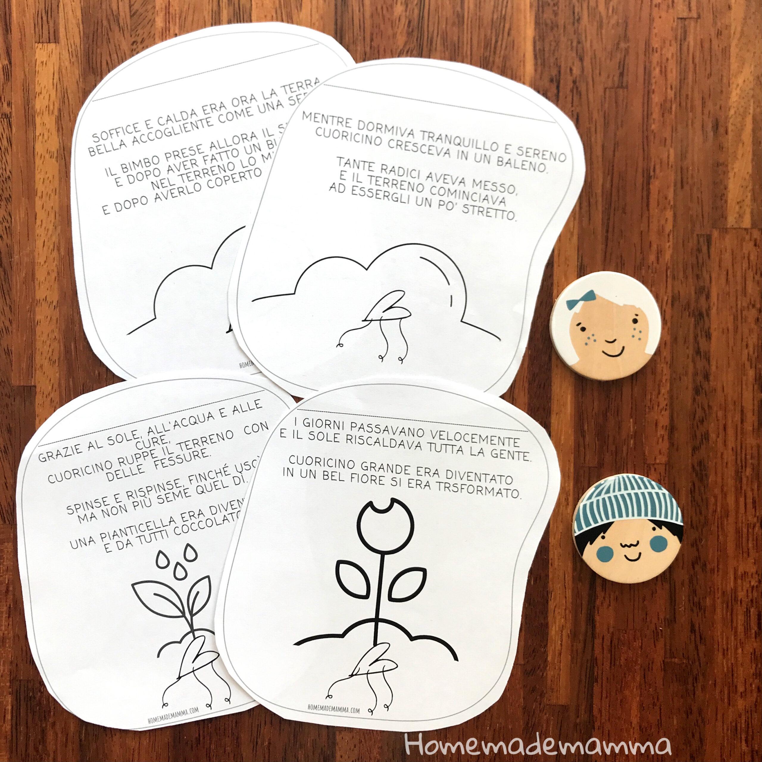 Storia da stampare bambini sul seme e fiore